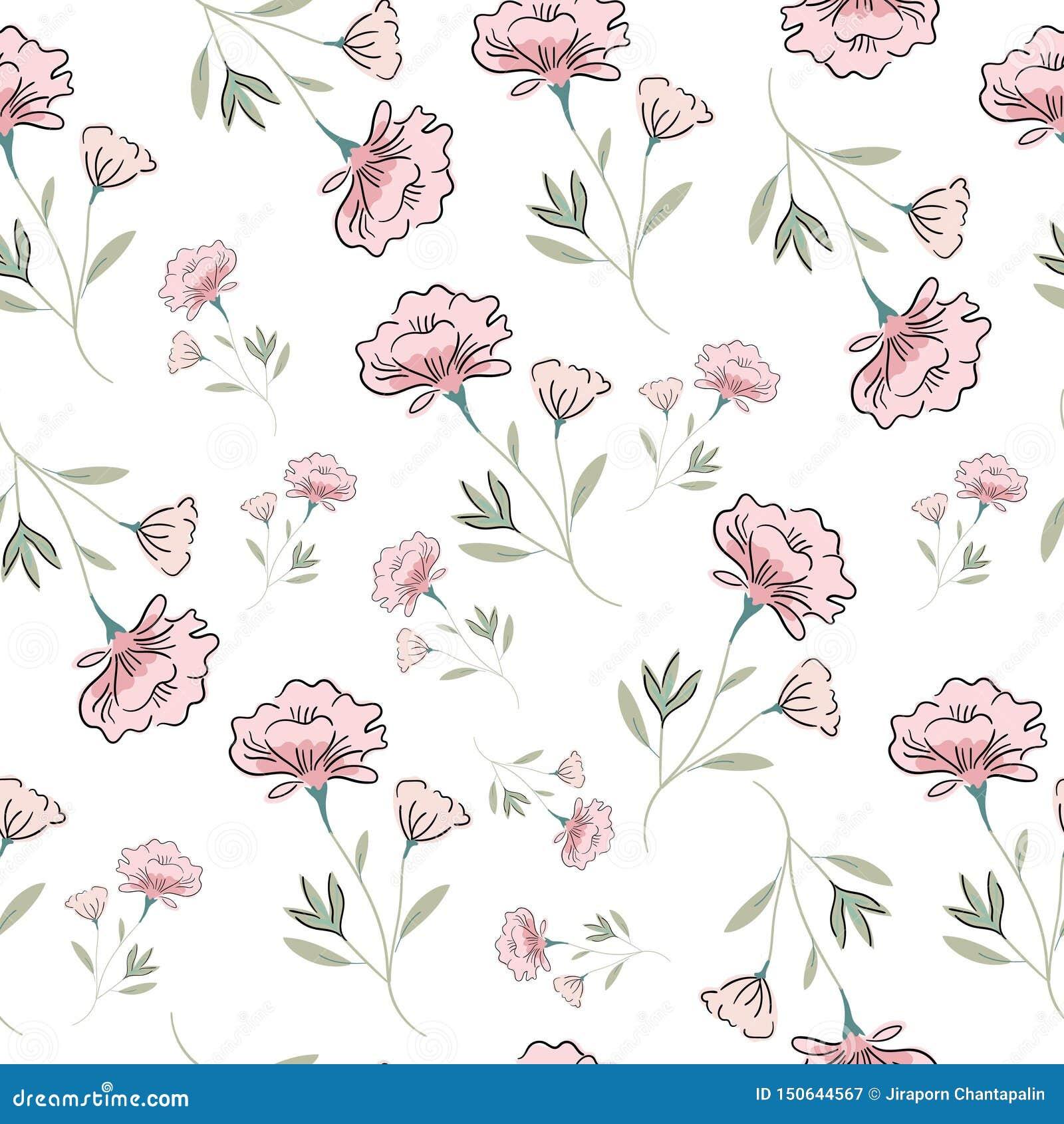 Cute pink seamless pattern background