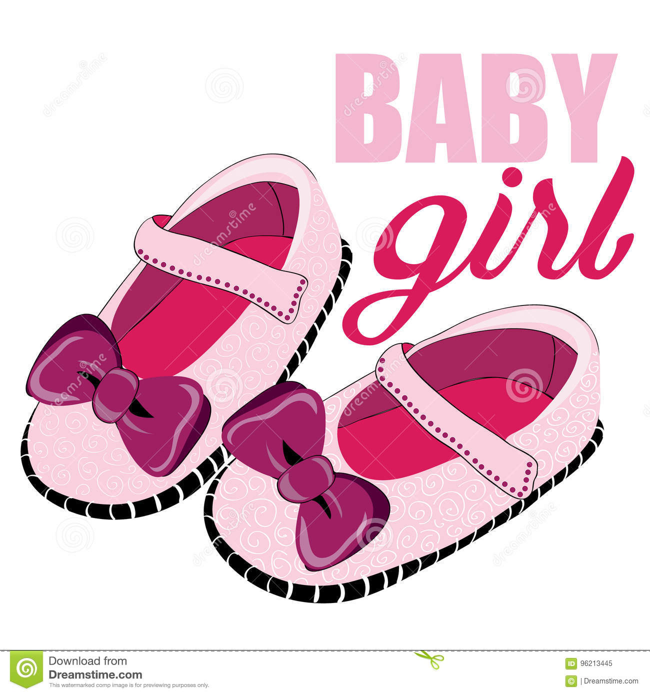 bafc534c37e9a Cute pink shoes for newborn girl. Baby Girl. Vector illustration on white  background