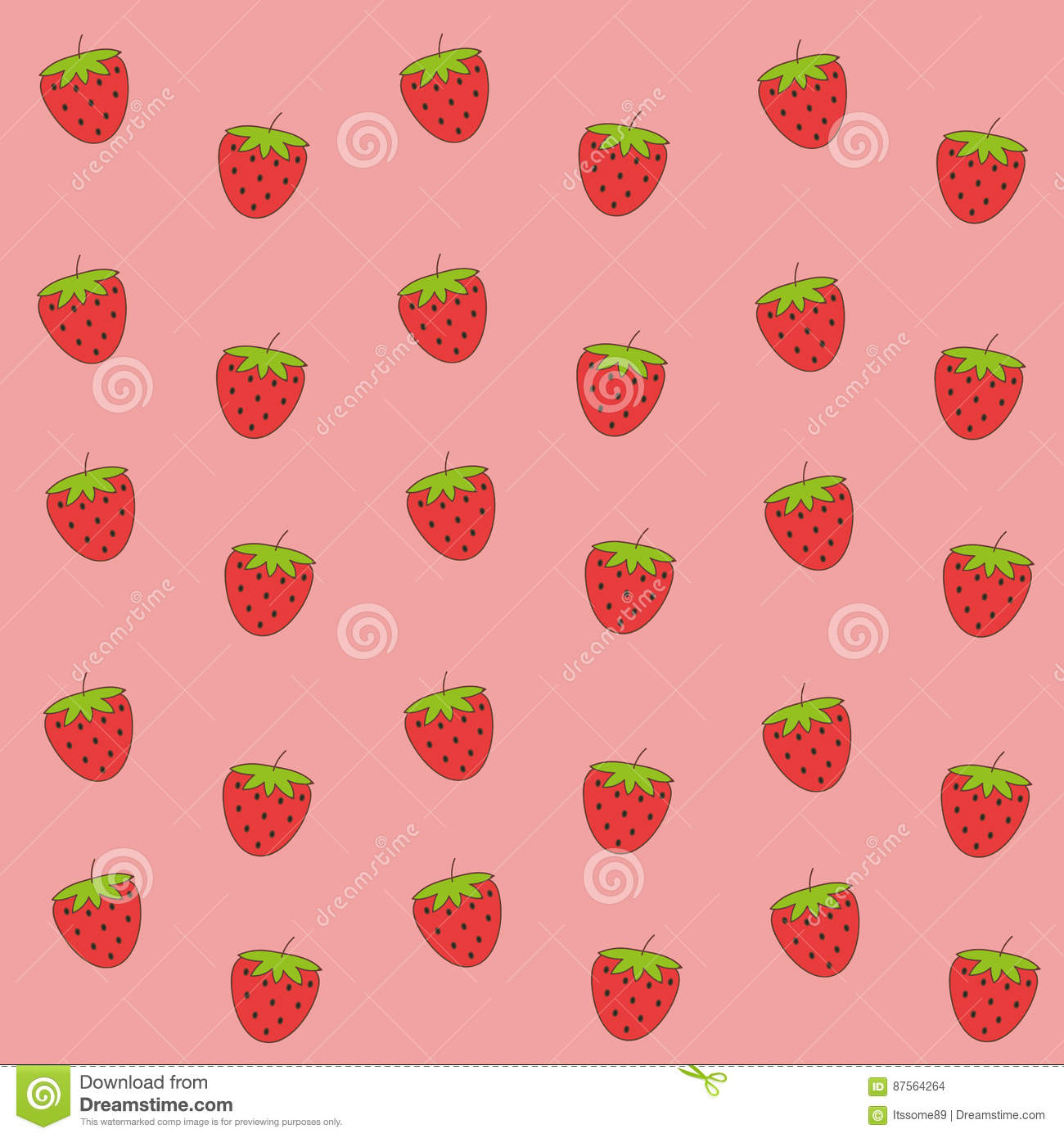 Cute Pink Strawberry Wallpaper