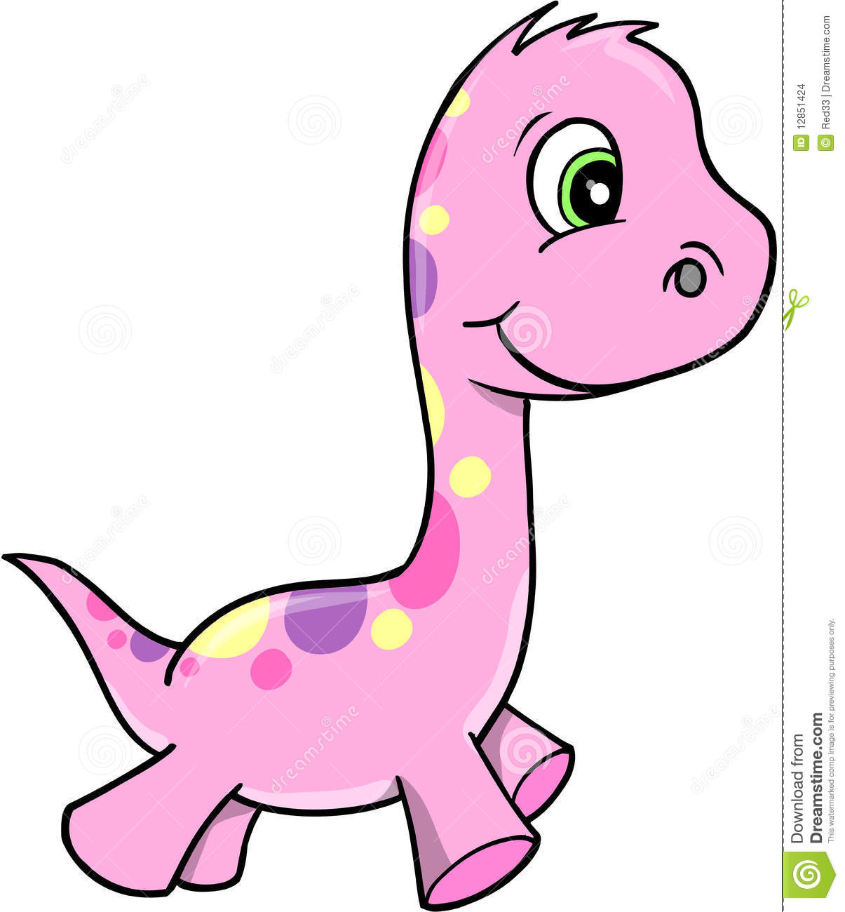 Cute Pink Vector Dinosaur Stock Images - Image: 12851424