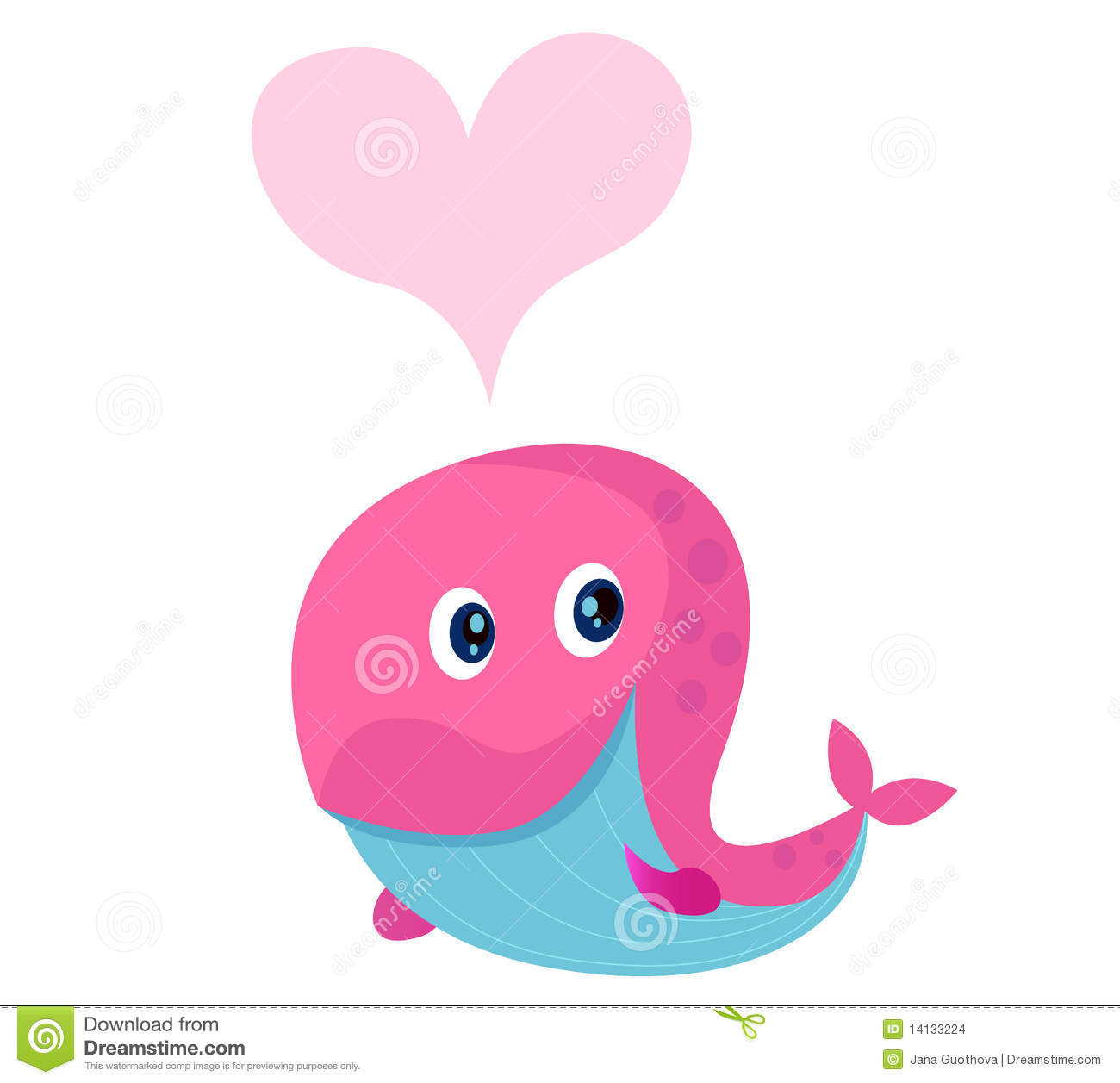 Cute Pink Whale With Heart Shape In Love Stock Vector ... Cute Baby Whale Clipart