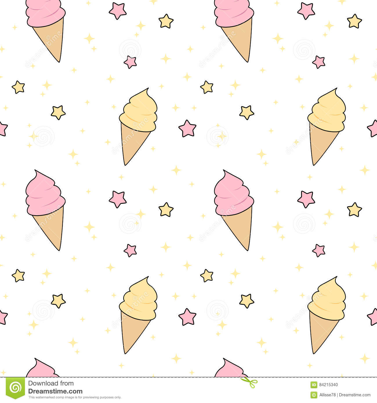 Pattern Cute Colorful Ice Cream Textiles Stock Vector: Cute Pink And Yellow Cartoon Ice Cream With Stars Seamless