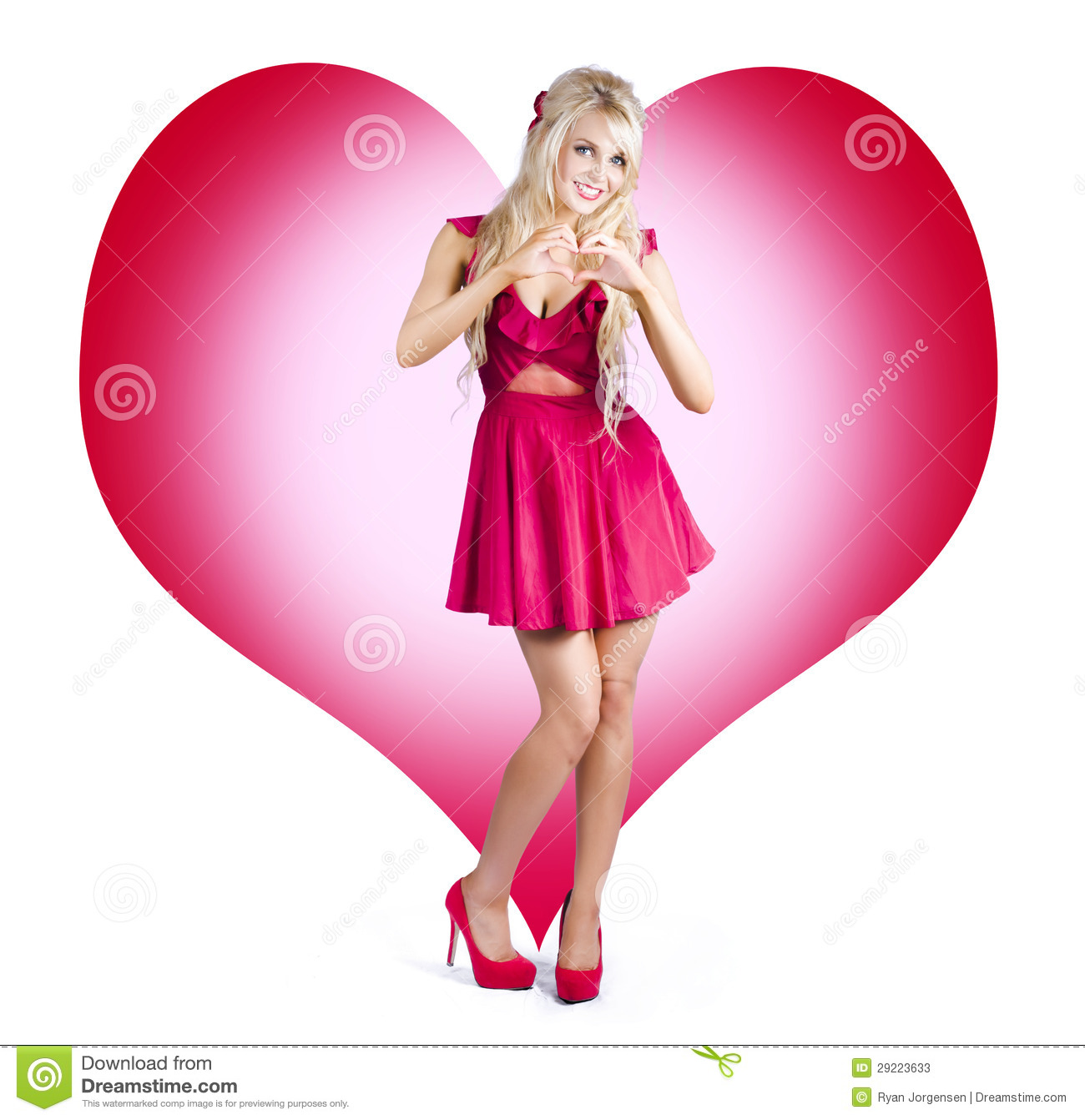 Cute Pinup Woman On Love Heart Symbol Background Stock Image Image