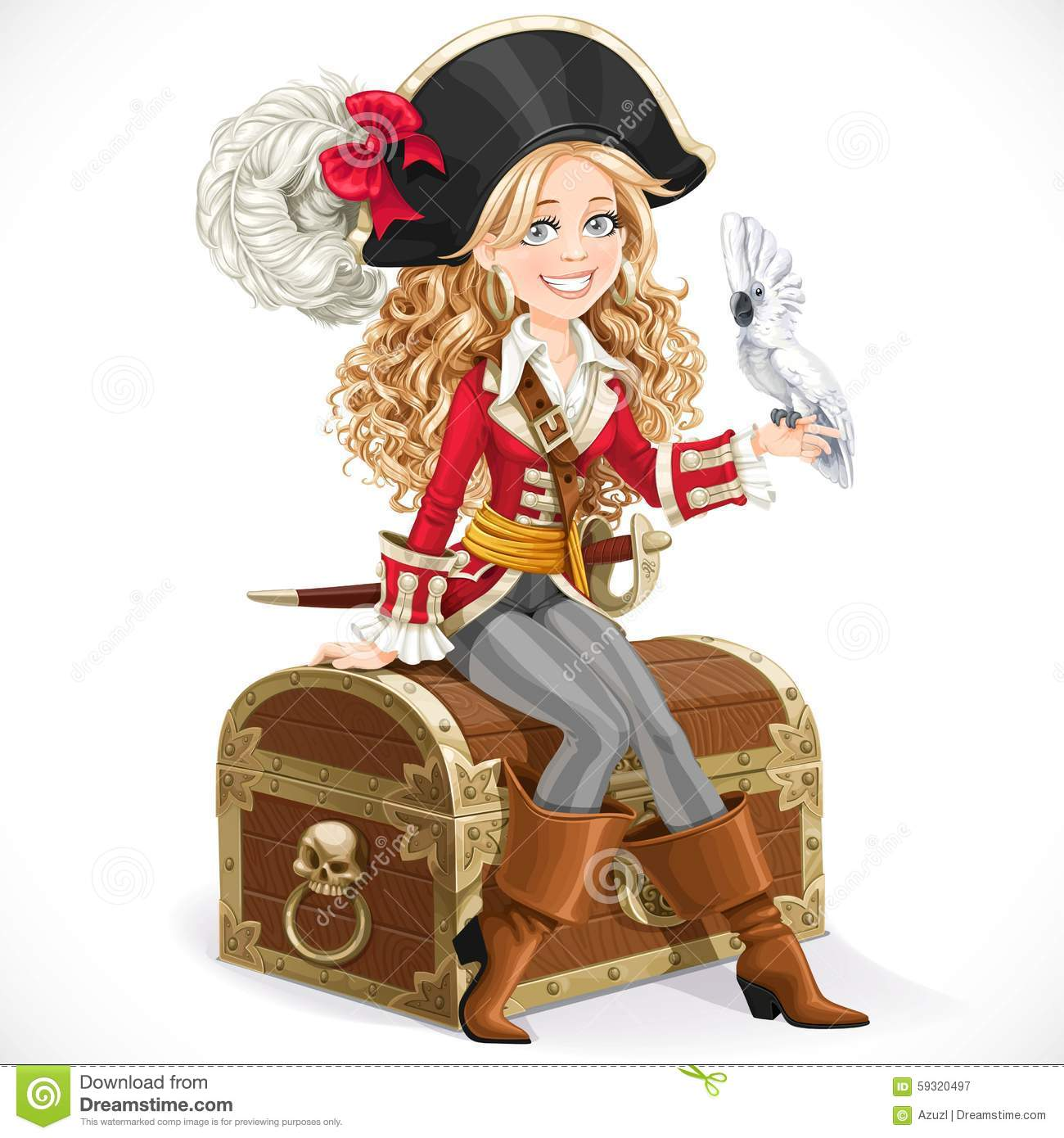 Cute Pirate Girl With Parrot Sit On Big Chest Stock Vector