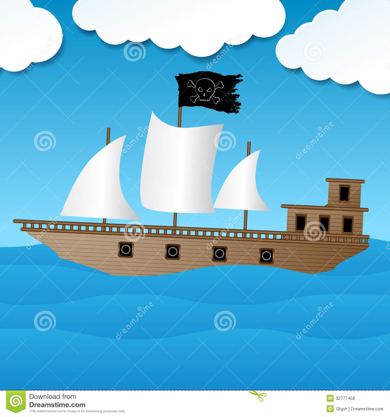 Cute Pirate Ship Sailing On The Ocean Royalty Free Stock Photos - Image: 32777458
