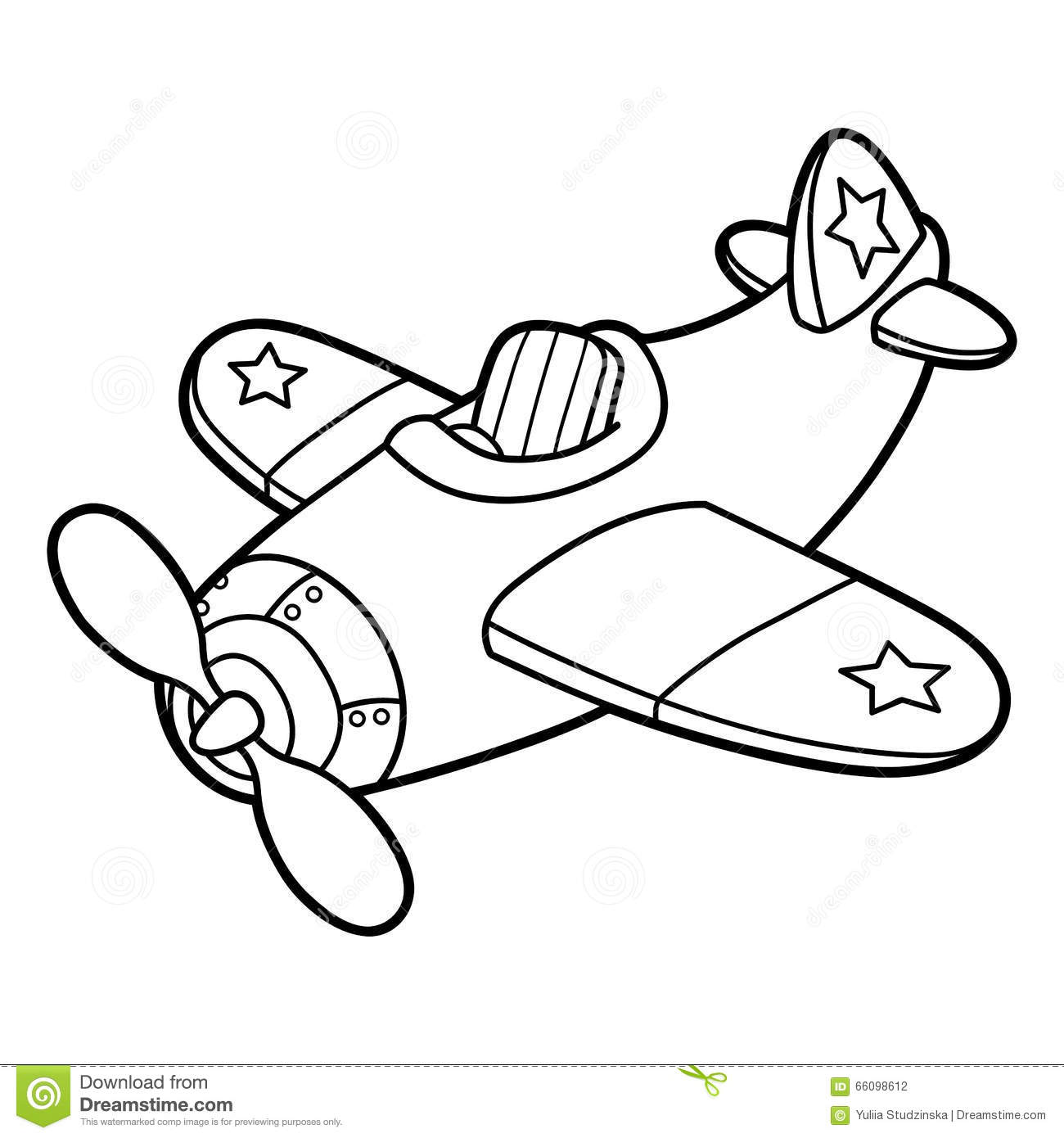 coloring page outline of cartoon boy with toy plane stock vector