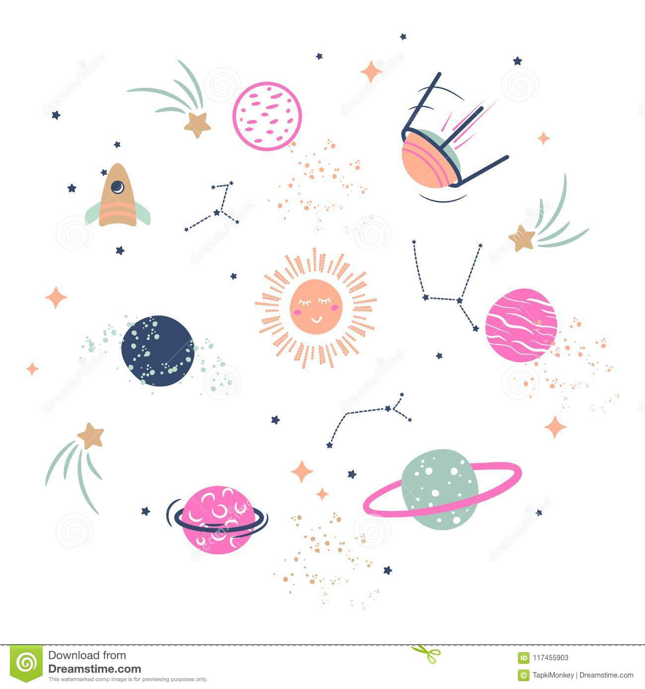 Cute Planets Vector Illustration Clipart For Kids. Stock ...
