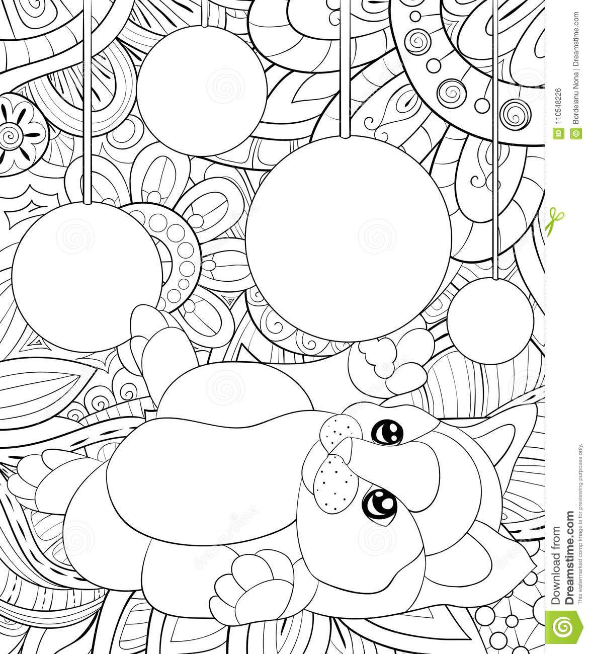 Adult Coloring Bookpage A Cute Playing With Ball Cat On The Floral Background For