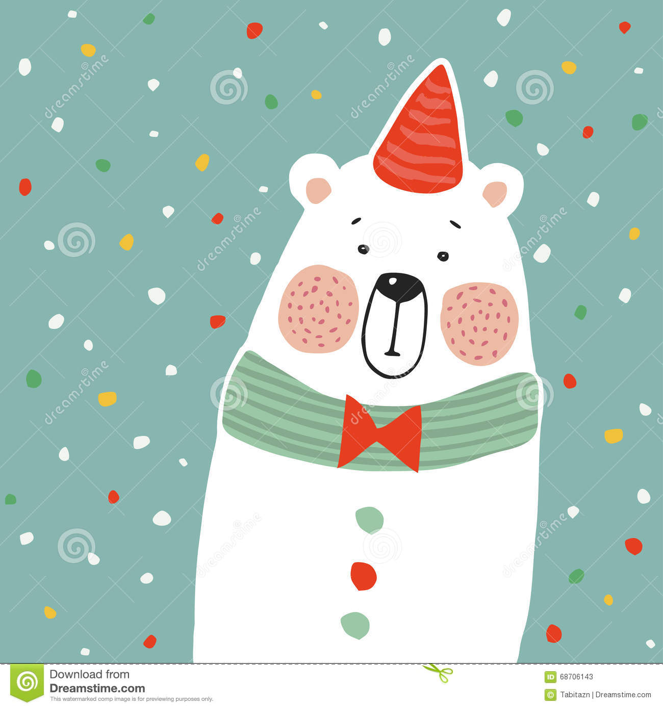 Cute Polar Bear With Party Hat And Paper Confetti Kids