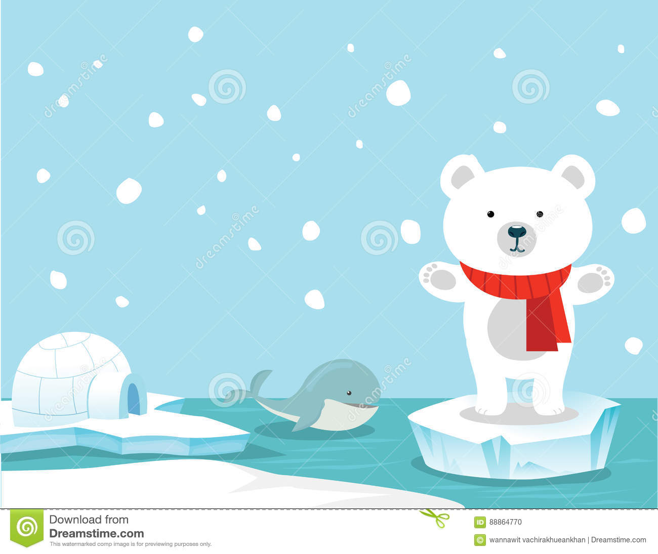 cute polar bear and whale background stock vector illustration of