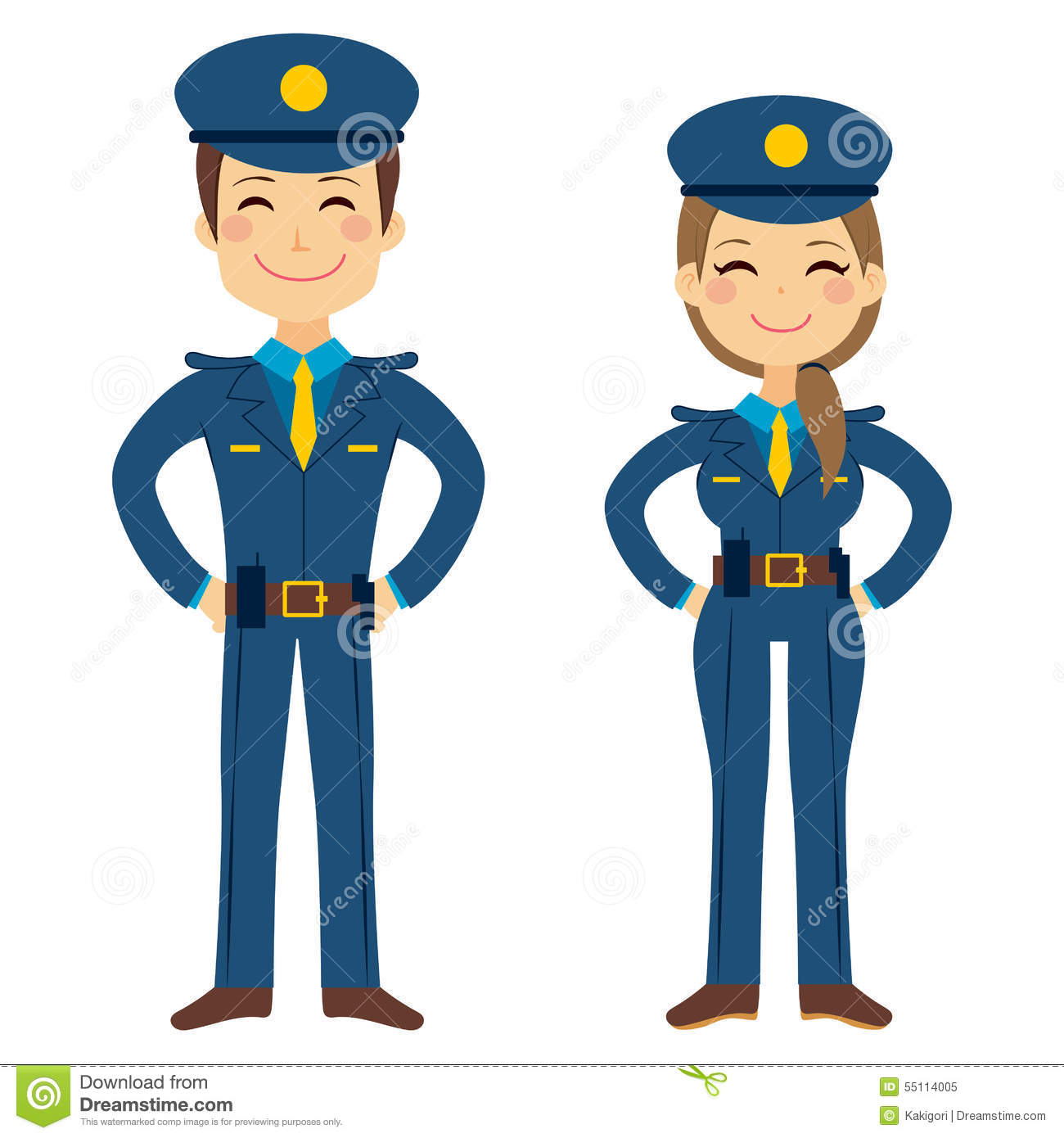 Cute Police Agents Stock Vector - Image: 55114005