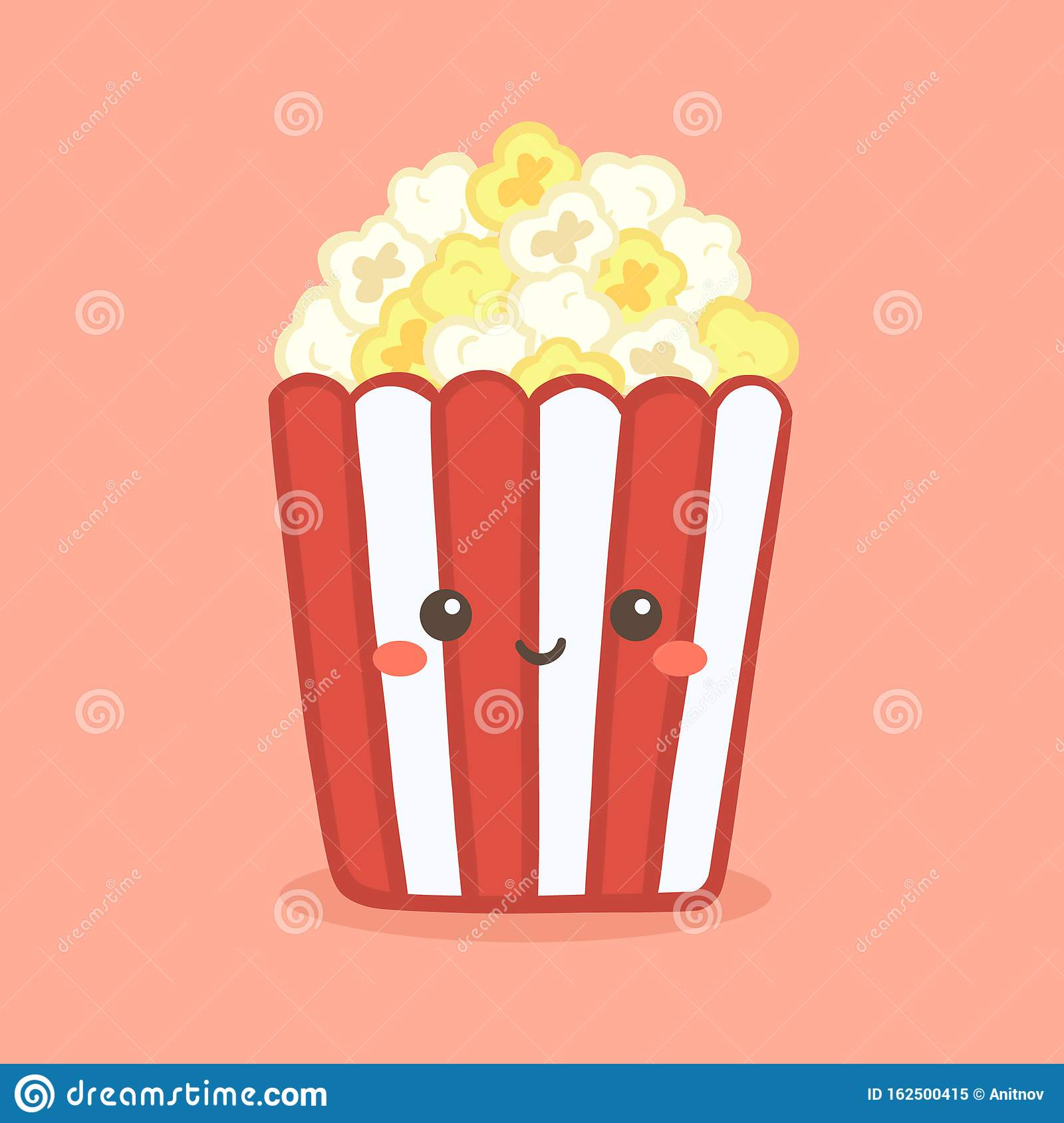 Cute Pop Corn Popcorn In Red Bucket Box Cinema Snack Vector Stock Vector Illustration Of Character Bucket 162500415
