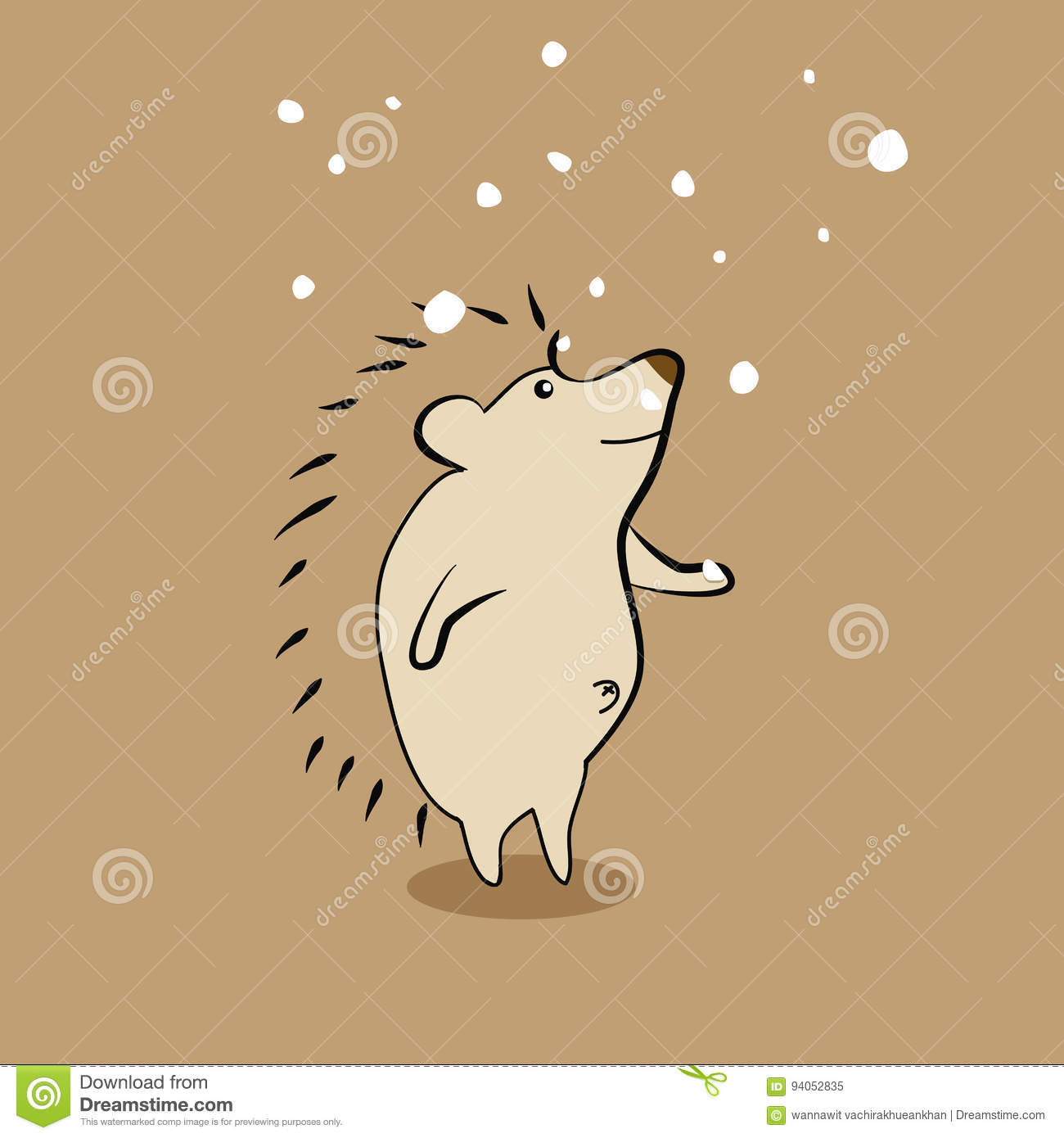 cute porcupine with snow stock vector illustration of forest 94052835
