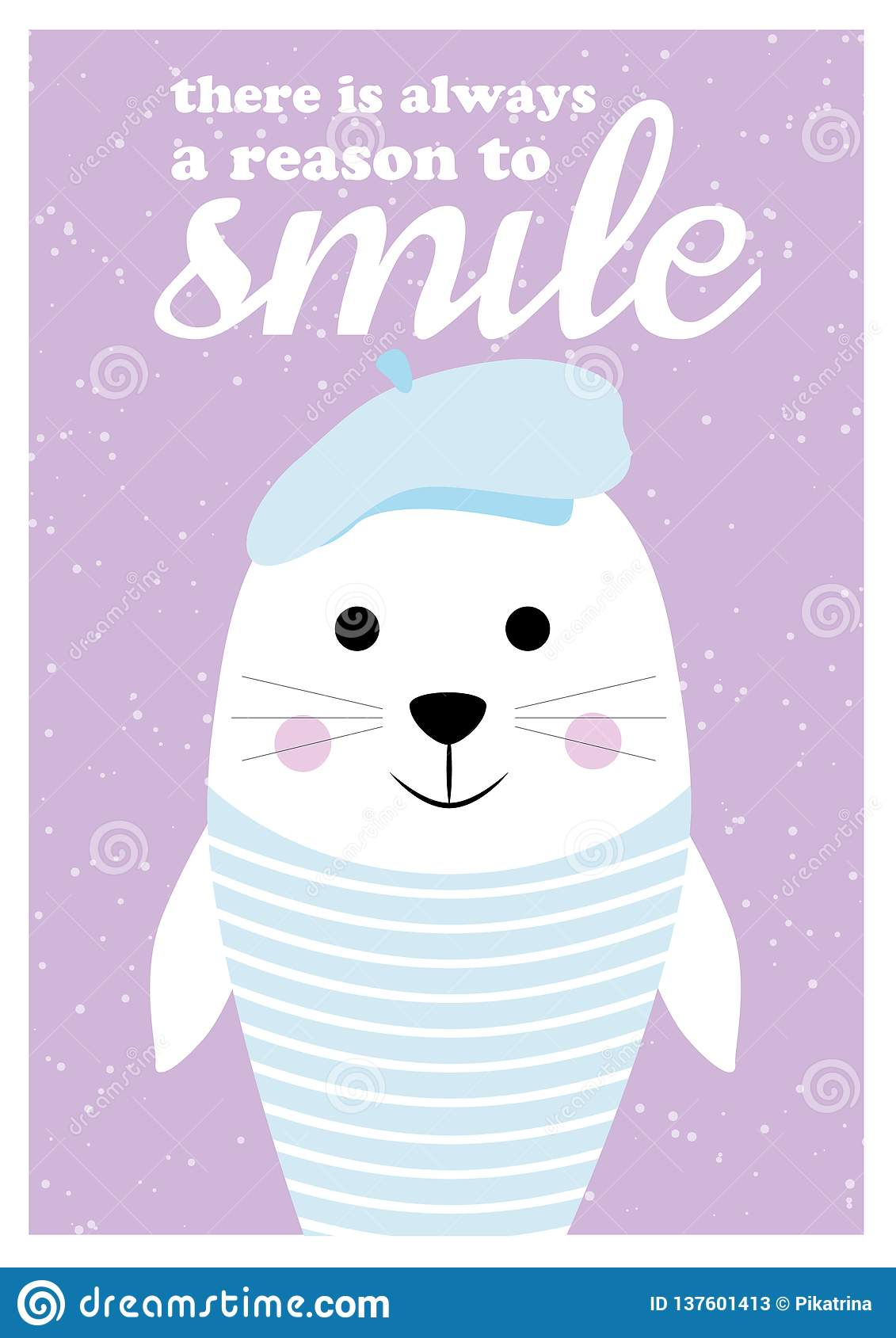 Vector Postcard With Animal And Quotes. Cartoon Illustration ...