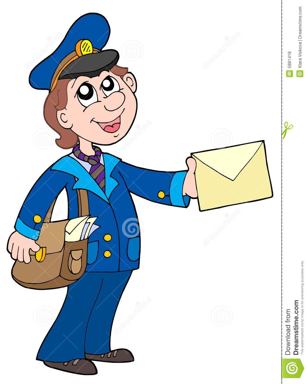 Cute postman with letter stock vector. Illustration of ...
