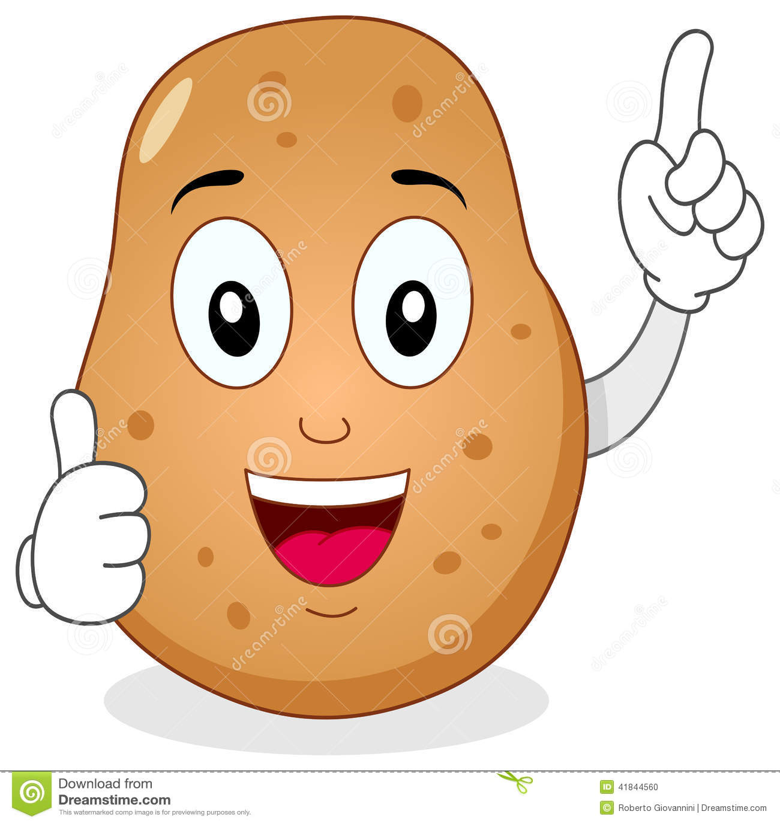 Cute Potato Character With Thumbs Up Stock Vector - Image ...  Cute Potato Cha...