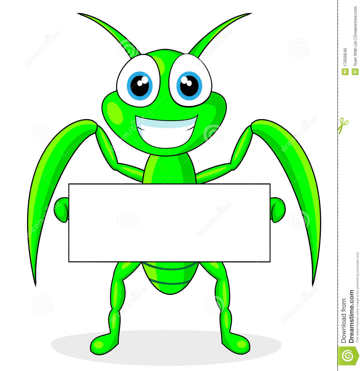 Cute Praying Mantis Holding A Blank Sign Stock Vector - Illustration ...