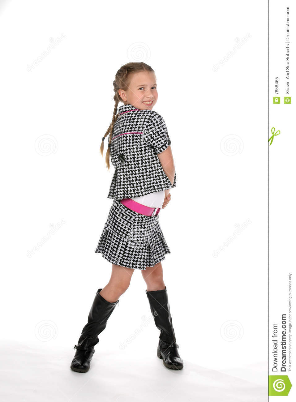 Cute Pre Teen Girl In Black And White Stock Image - Image -1336