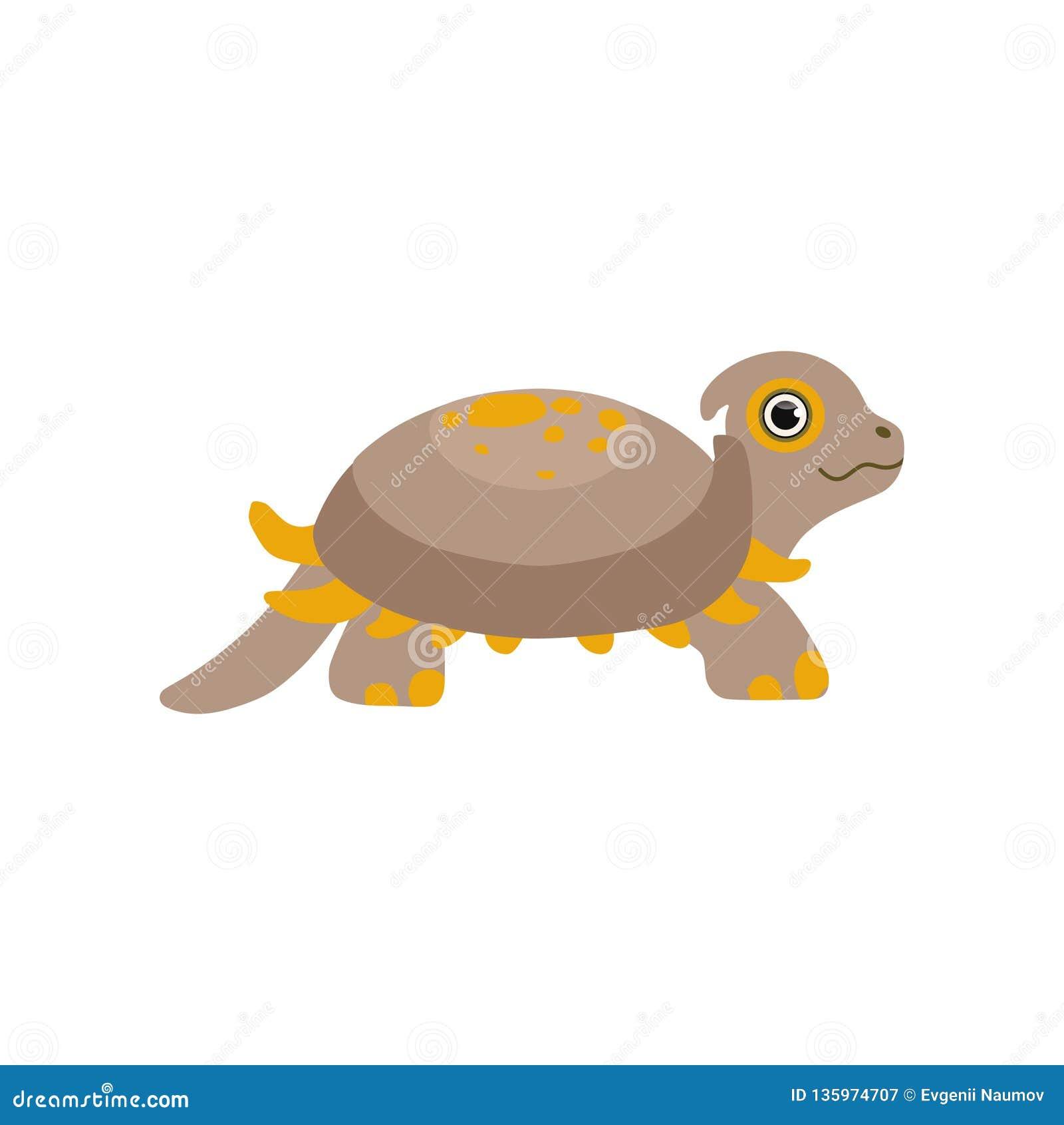 Cute prehistoric turtle, funny baby amphibian animal character vector Illustration