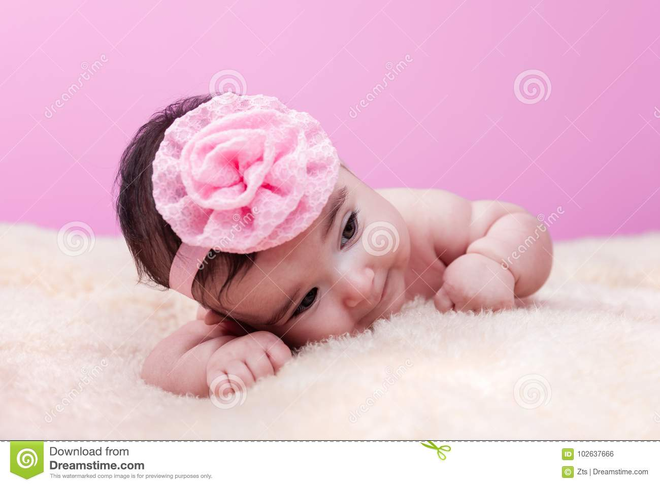 Cute, pretty, happy and chubby baby girl without clothes, naked or nude
