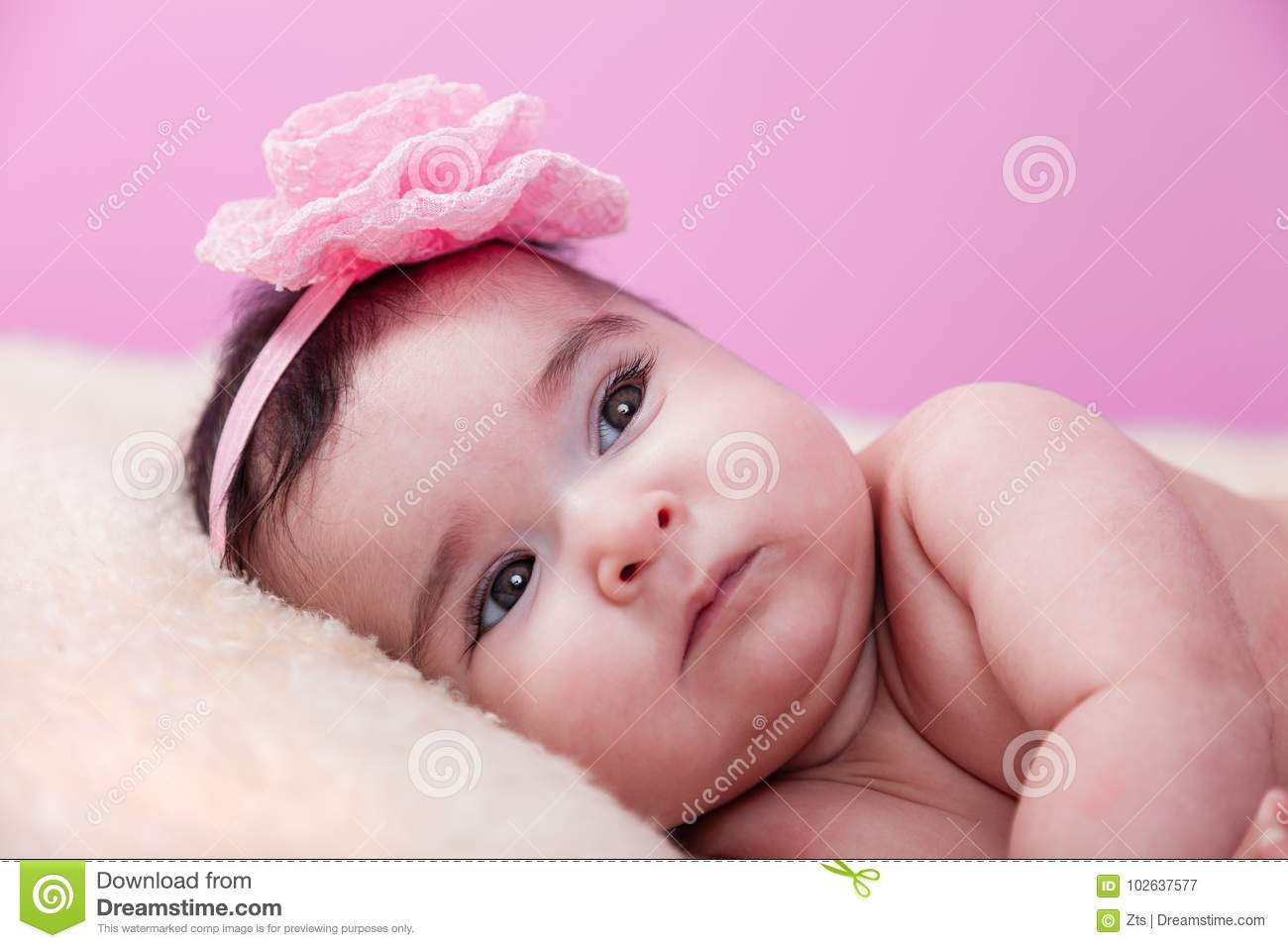 cute, pretty, happy, chubby baby girl serious portrait, naked or