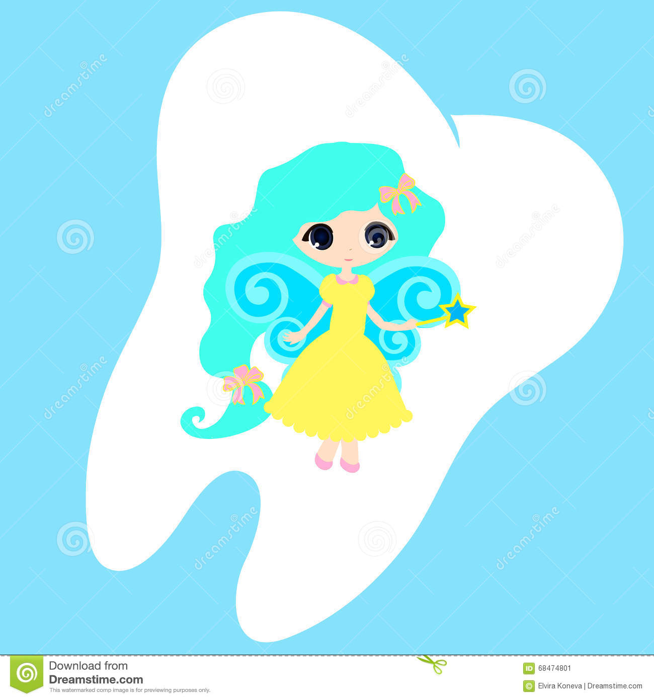 cute princess card little happy tooth fairy teeth vector