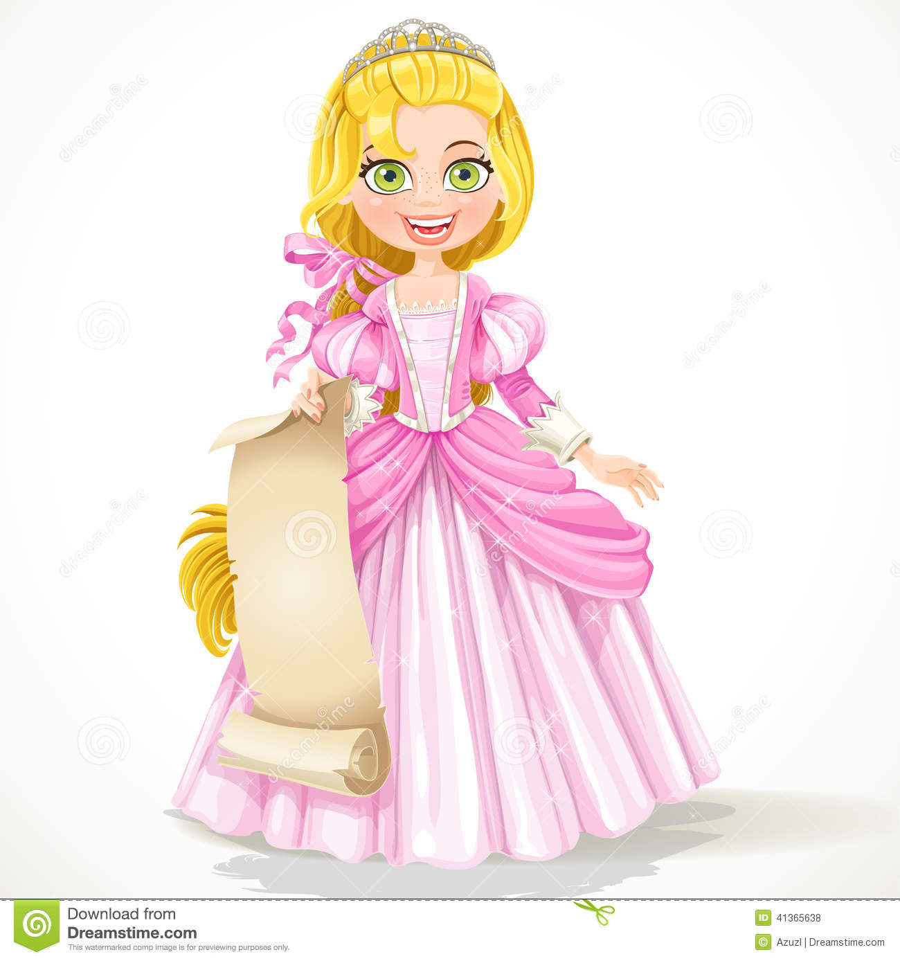 Cute Princess In Tiara Holding A Blank Sheet Of Parchment