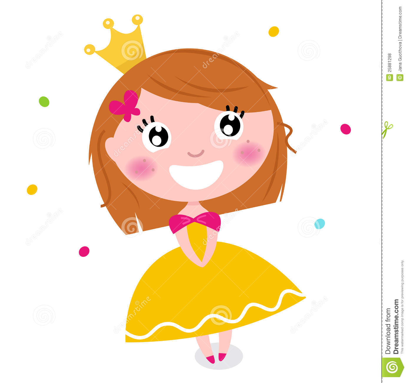 Cute princess in yellow dress isolated on white royalty free stock