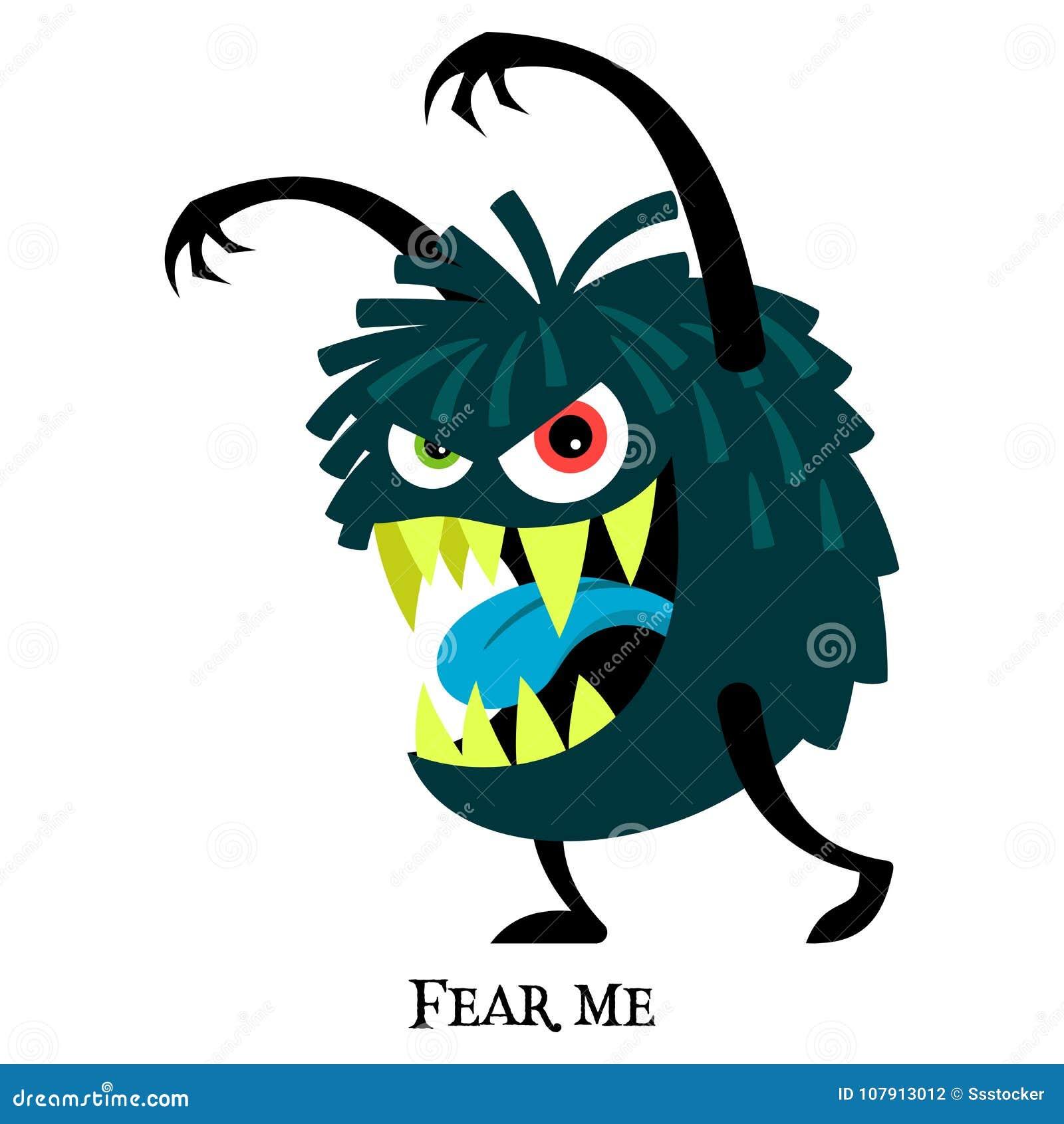 Blue Scary Monster For T Shirt Design Stock Vector Illustration Of