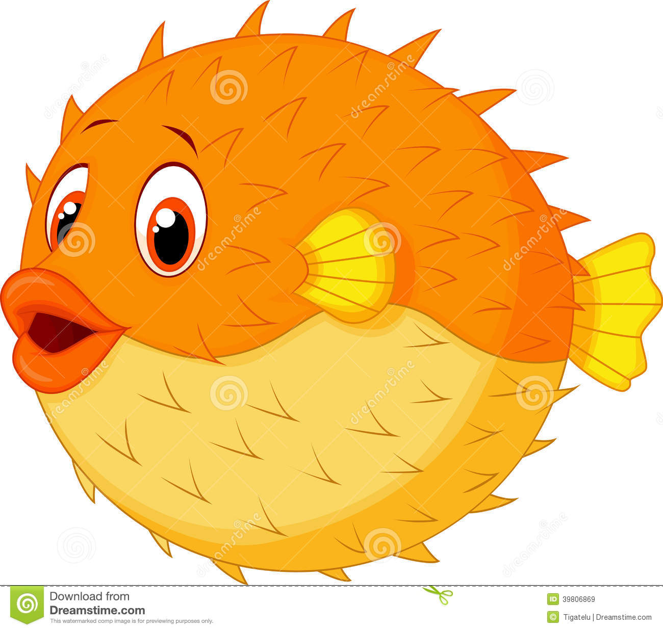 cute animated puffer fish
