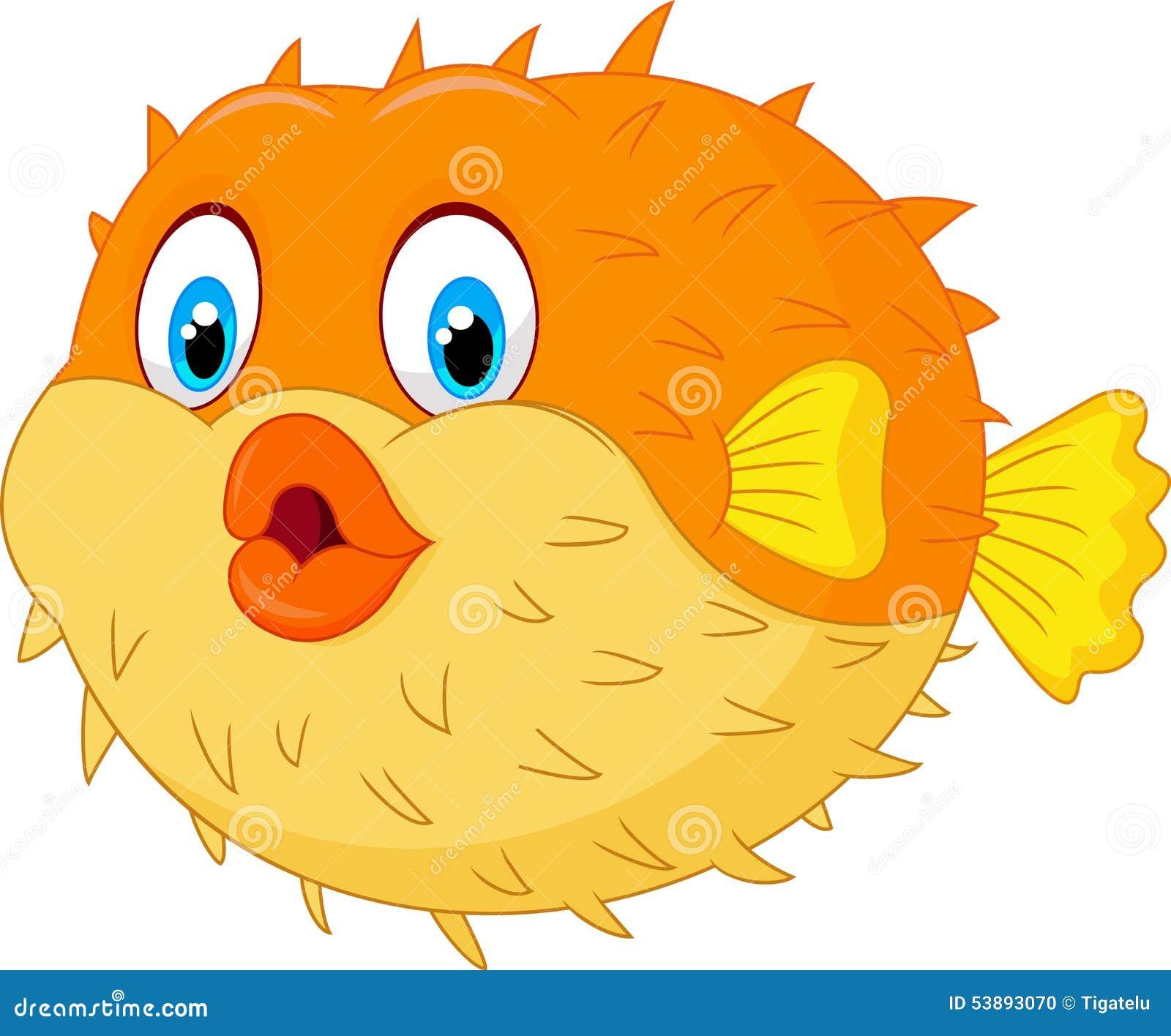 Cute Puffer Fish Cartoon Stock Vector Image 53893070