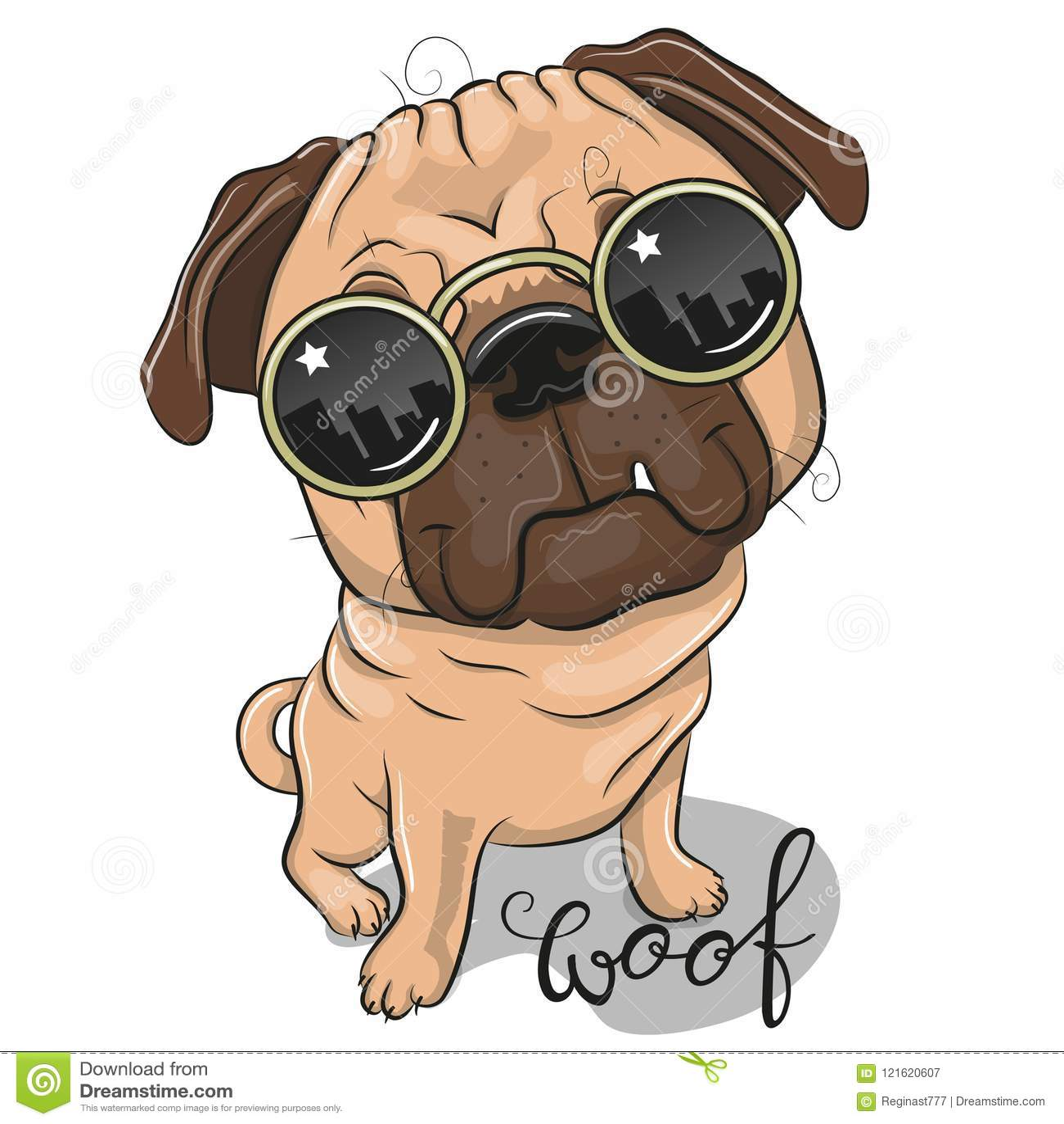 Cute Pug Dog With Sun Glasses Stock Vector