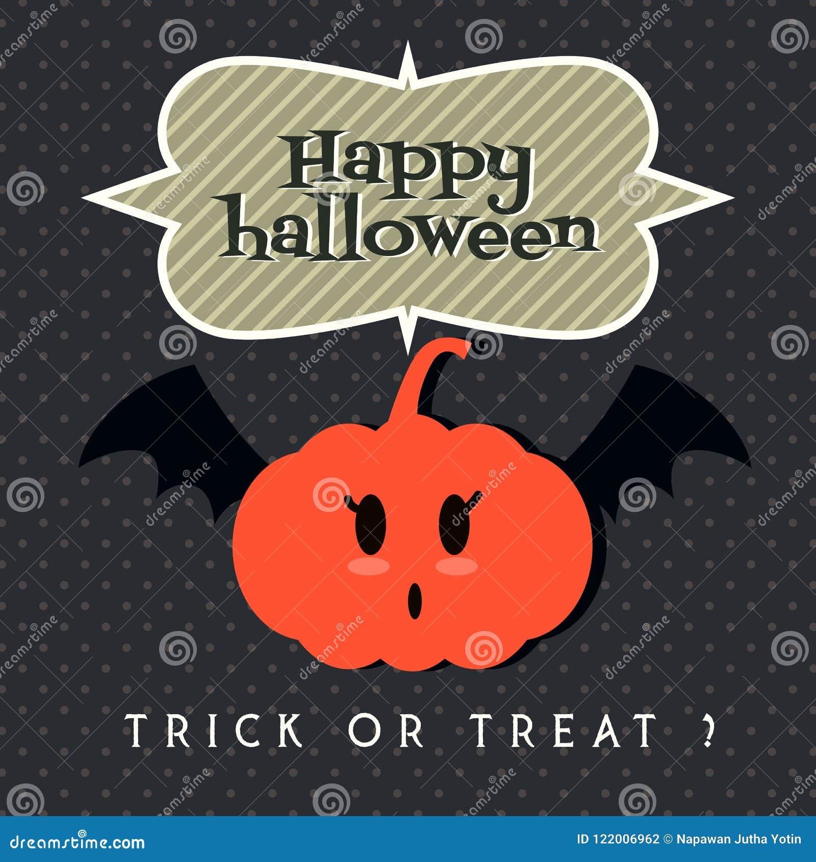 Cute Pumpkin With Bat`s Wing Cartoon Character Illustration