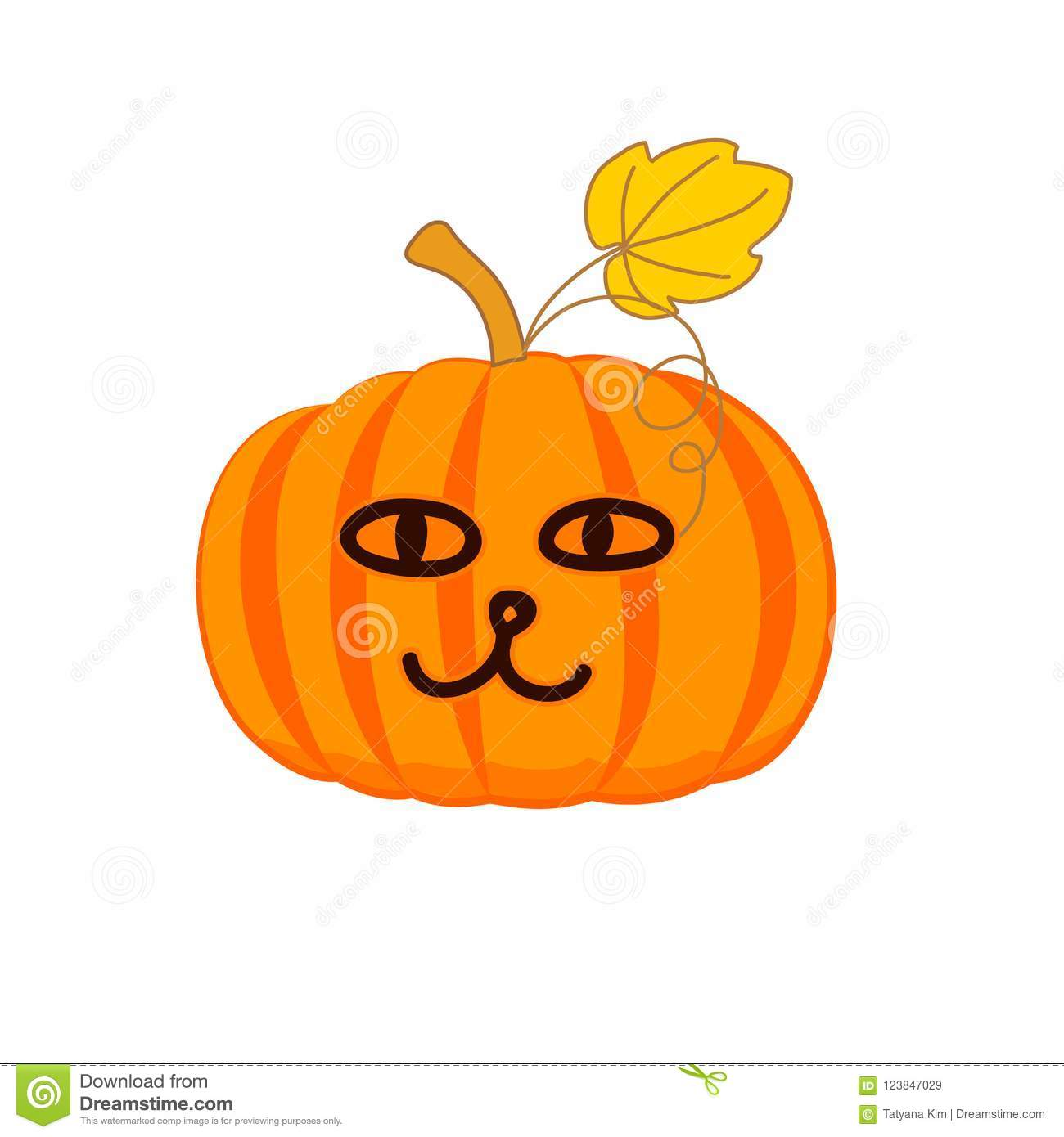 cute pumpkin with a cat face vector stock illustration
