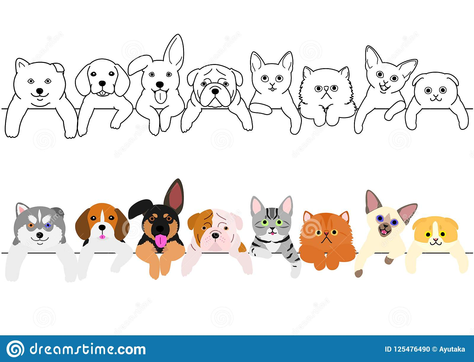 Cute Puppies And Kitties Border Set Stock Vector Illustration Of