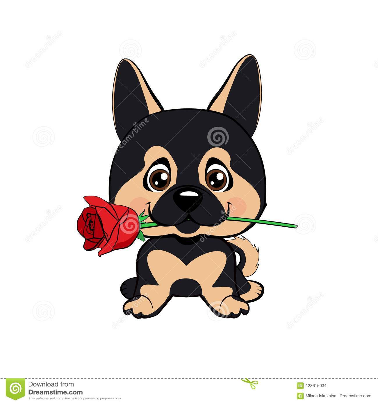 ee310d77 Cute puppy with a flower cartoon hand drawn vector illustration. Can be  used for t-shirt print, kids wear fashion design, baby shower invitation  card.