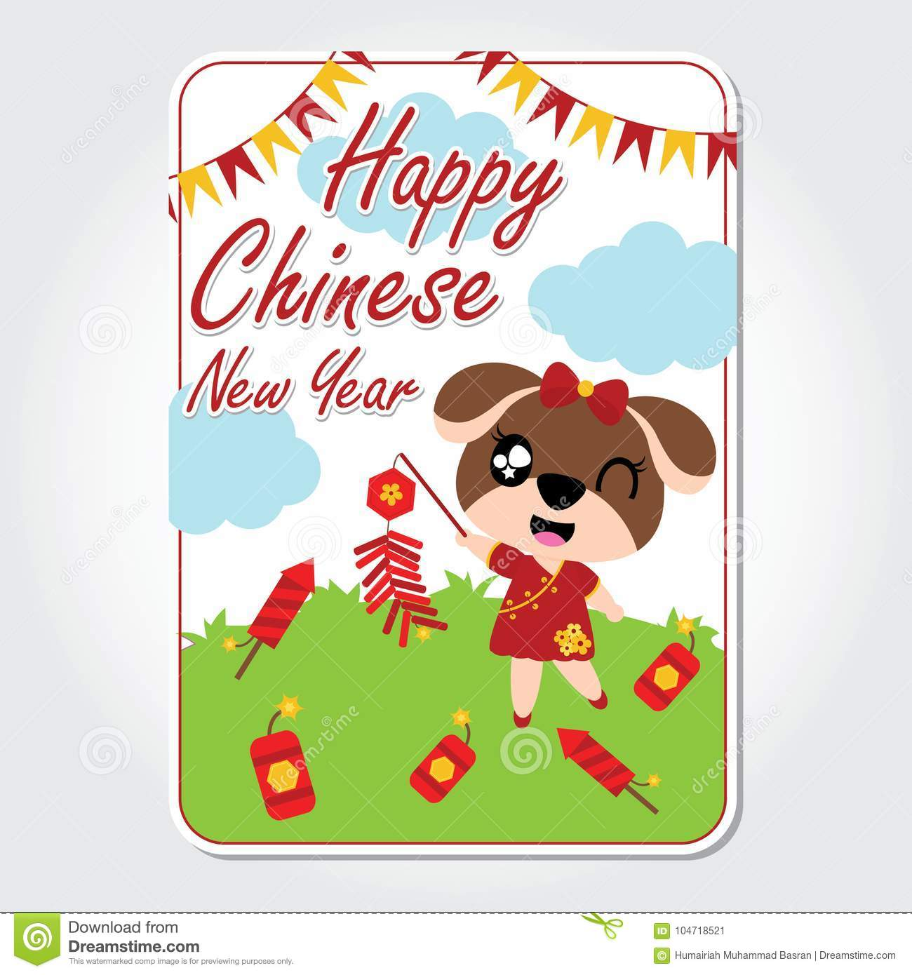 Cute Puppy Plays Firecrackers Vector Cartoon Illustration For Chinese New Year Card Design Stock Vector Illustration Of Flat Animal 104718521