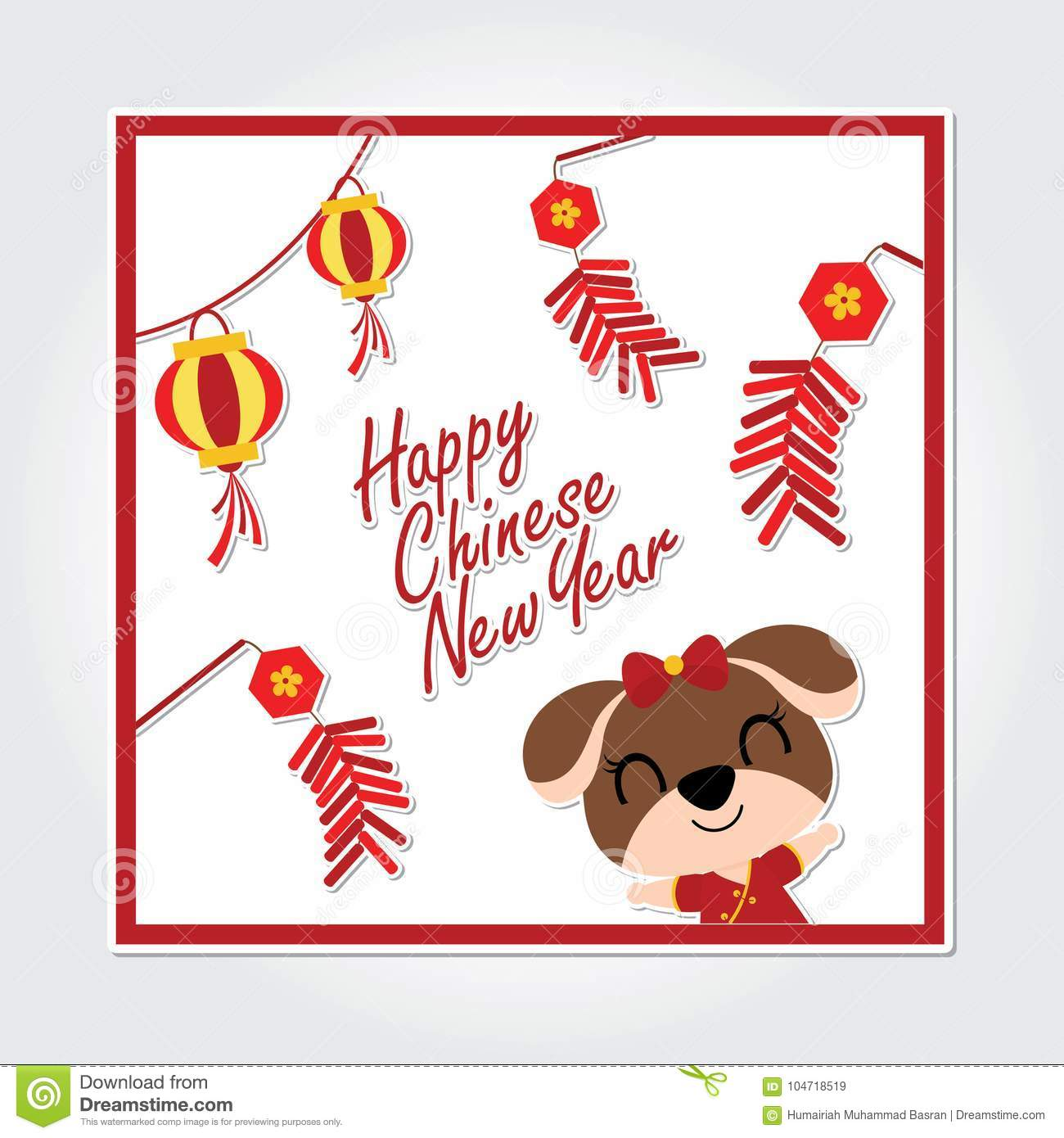 Cute Puppy With Red Lantern And Firecrackers Vector Cartoon
