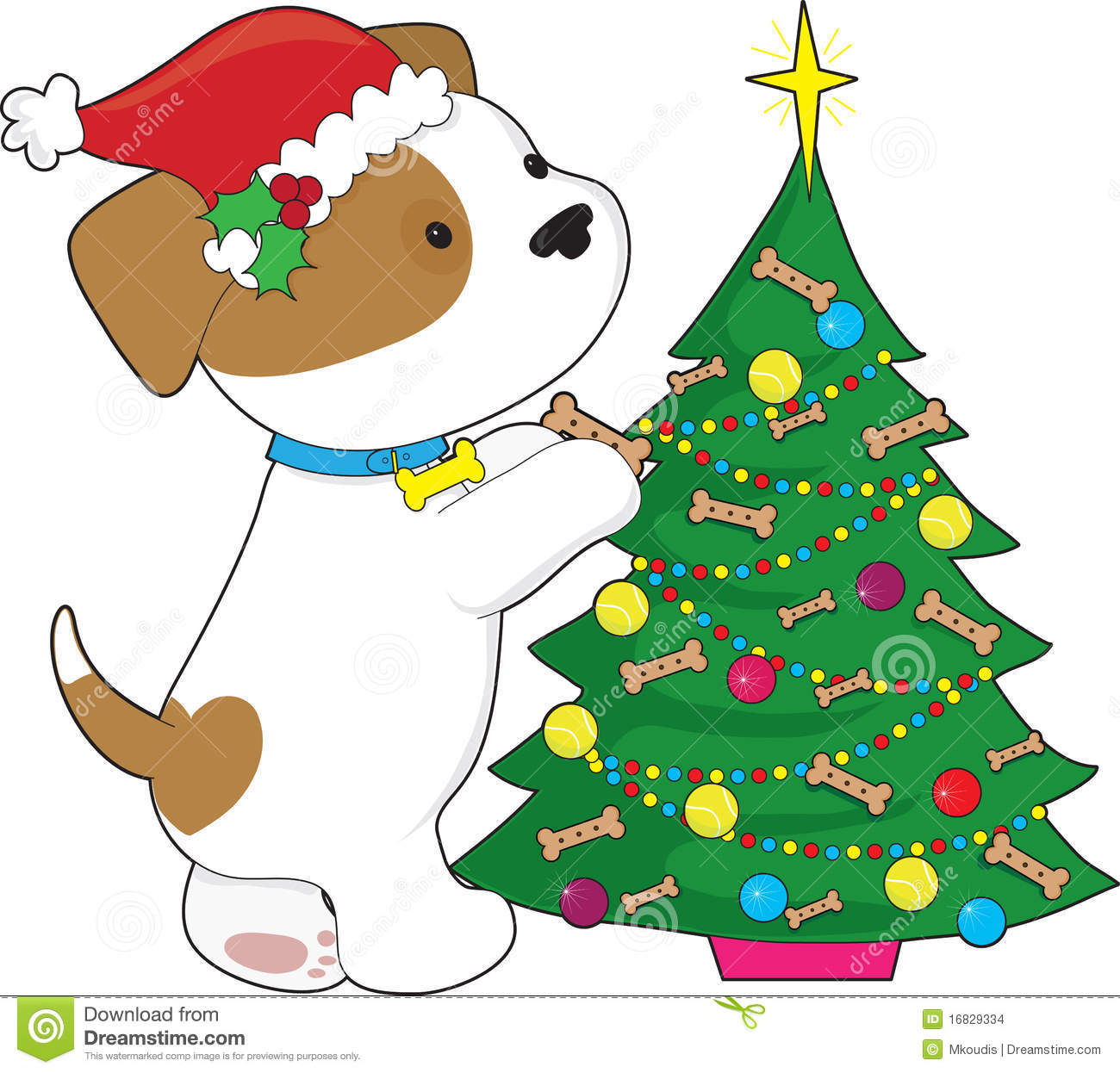 Cute Puppy With Santa Hat And Tree Stock Vector