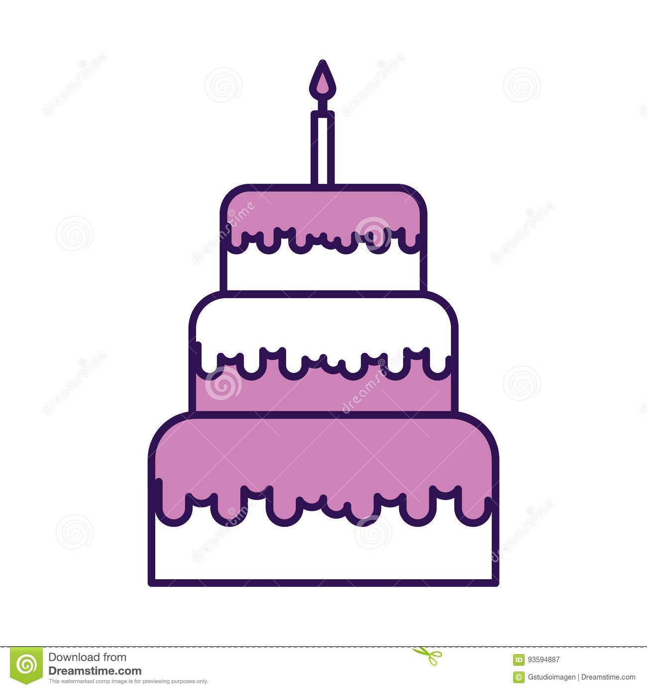 Amazing Cute Purple Birthday Cake Cartoon Stock Vector Illustration Of Funny Birthday Cards Online Alyptdamsfinfo
