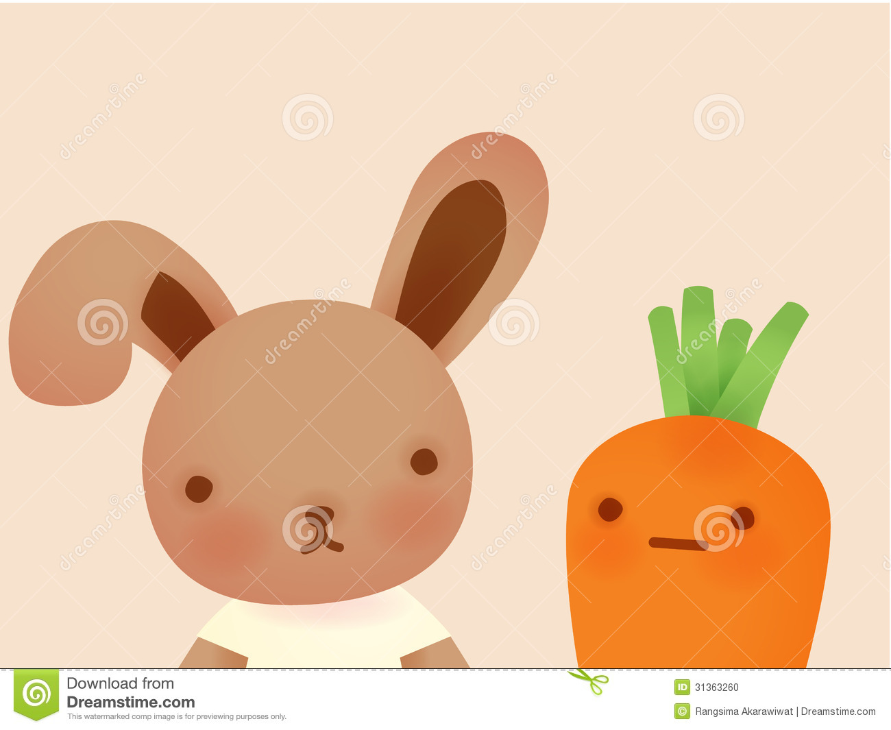 Cute Rabbit And Carrot Stock Photo - Image: 31363260