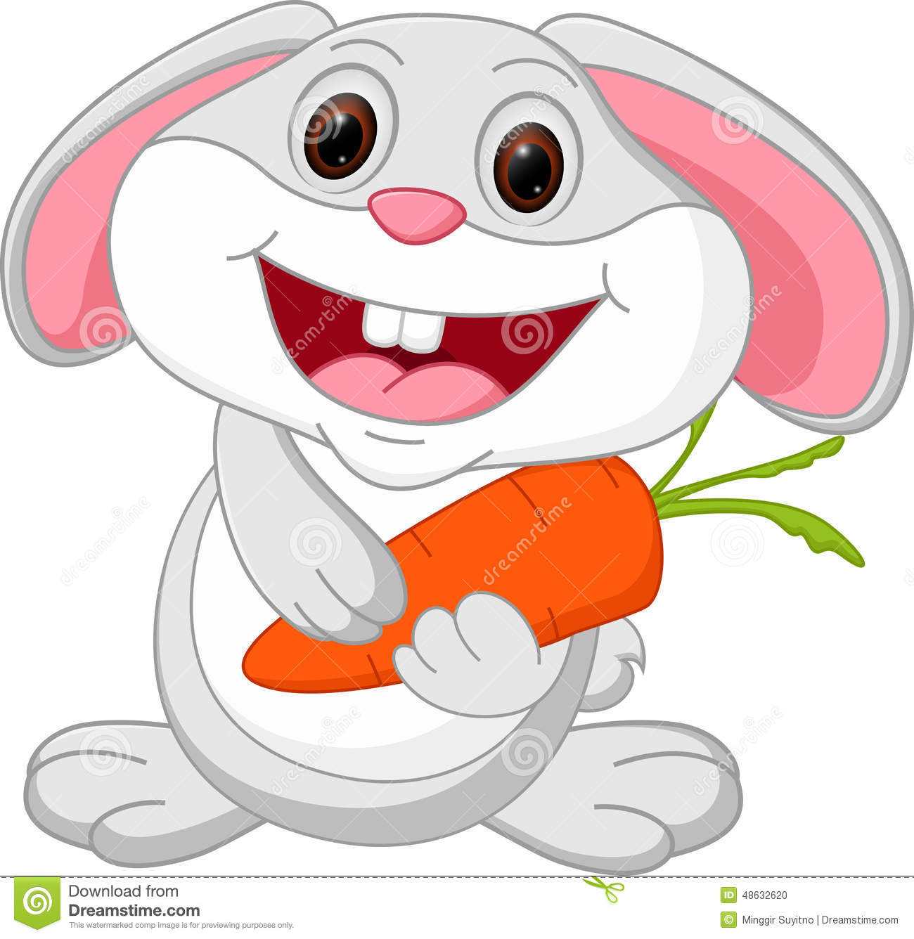 Cute Rabbit Cartoon Holds Carrot
