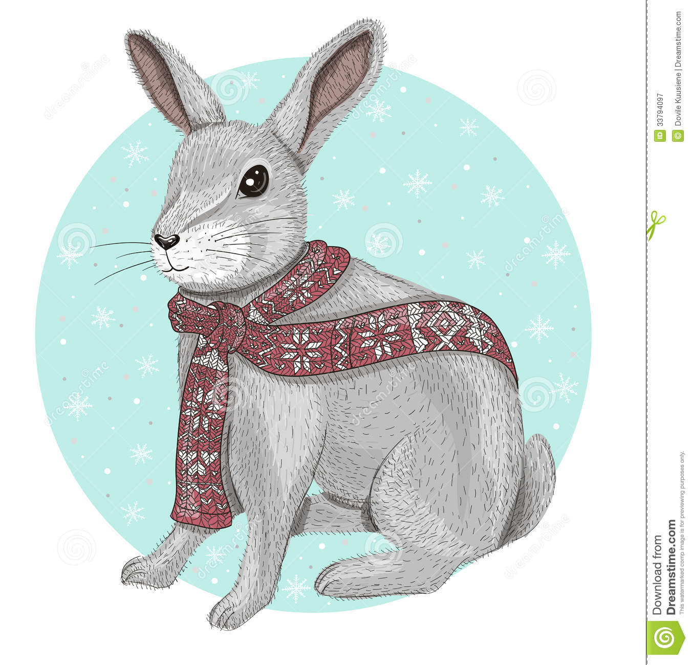 cute rabbit with scarf winter background royalty free. Black Bedroom Furniture Sets. Home Design Ideas