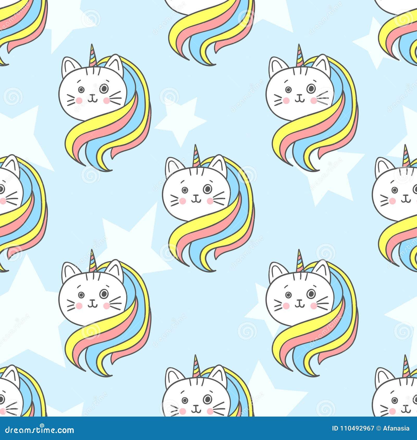 Cute Rainbow Cat Unicorn Seamless Pattern Stock Vector