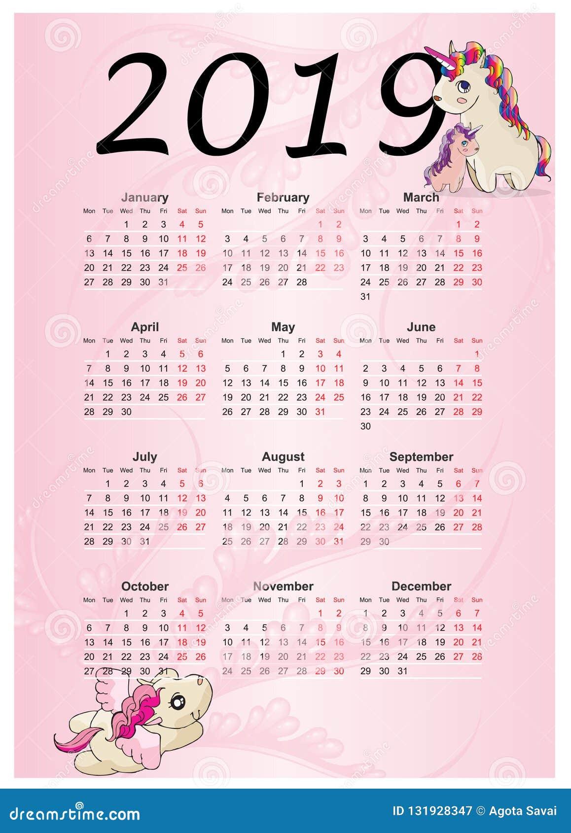 Calendario Rainbow.Cute Rainbow Monthly Calendar 2019 With Unicorn Stock Vector