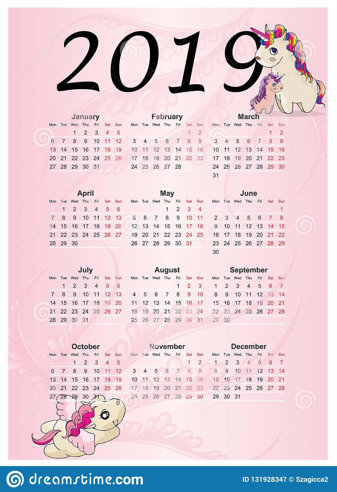 Calendario 2019 Con Numero Week.Cute Rainbow Monthly Calendar 2019 With Unicorn Stock Vector