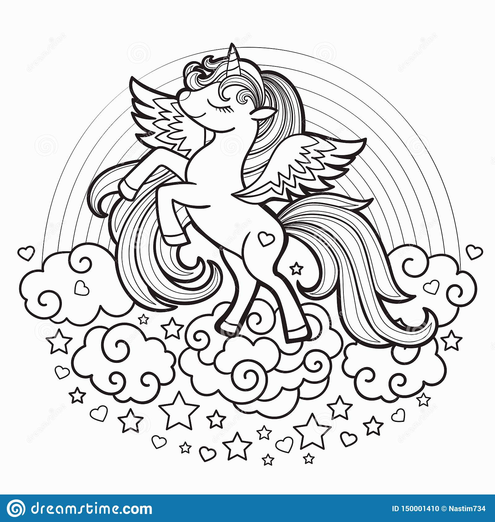 Cute Rainbow Unicorn Black And White Vector Illustration For Coloring Book Stock Vector Illustration Of Kids Contour 150001410