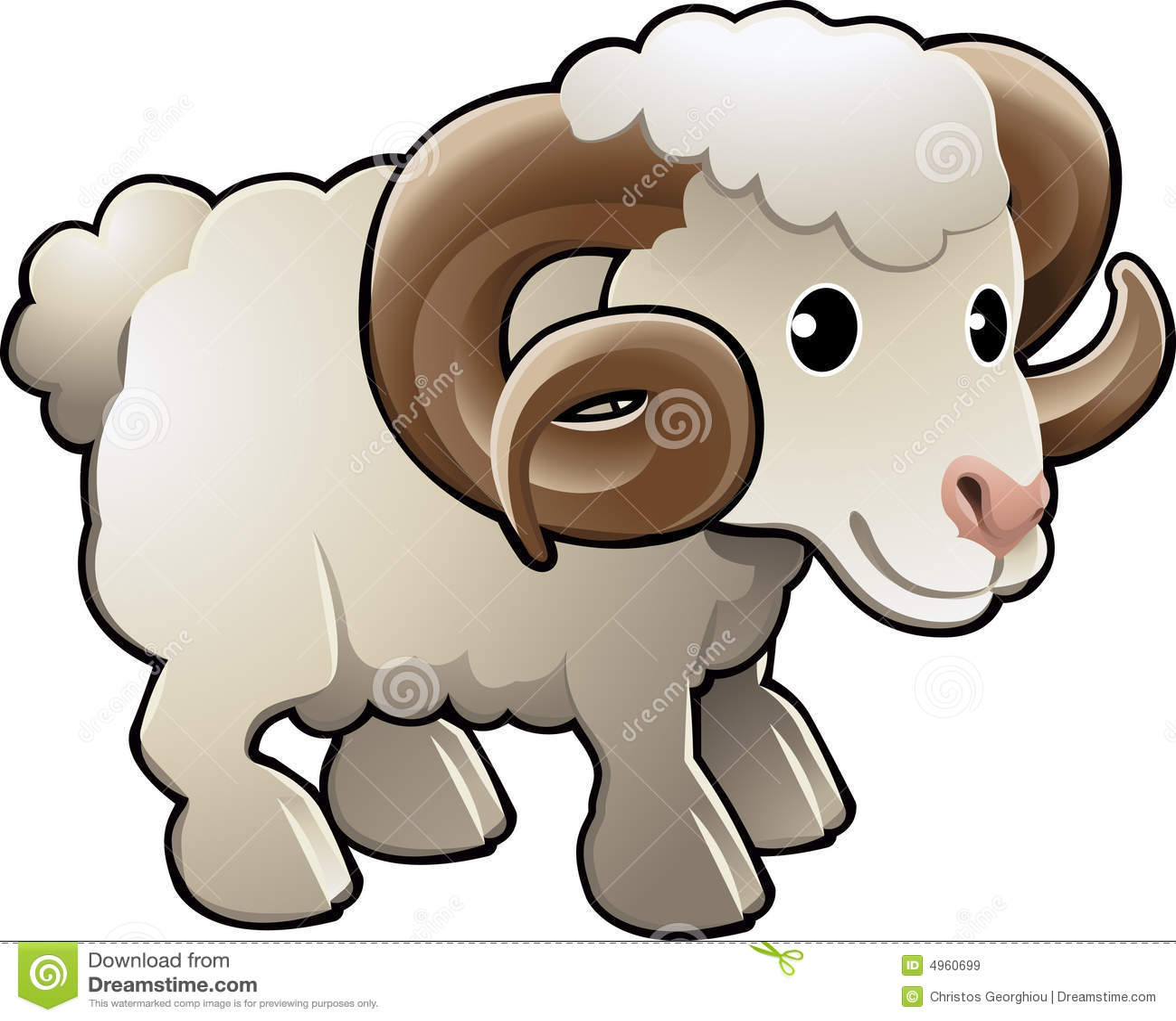 Cute Ram Sheep Farm Animal Vector