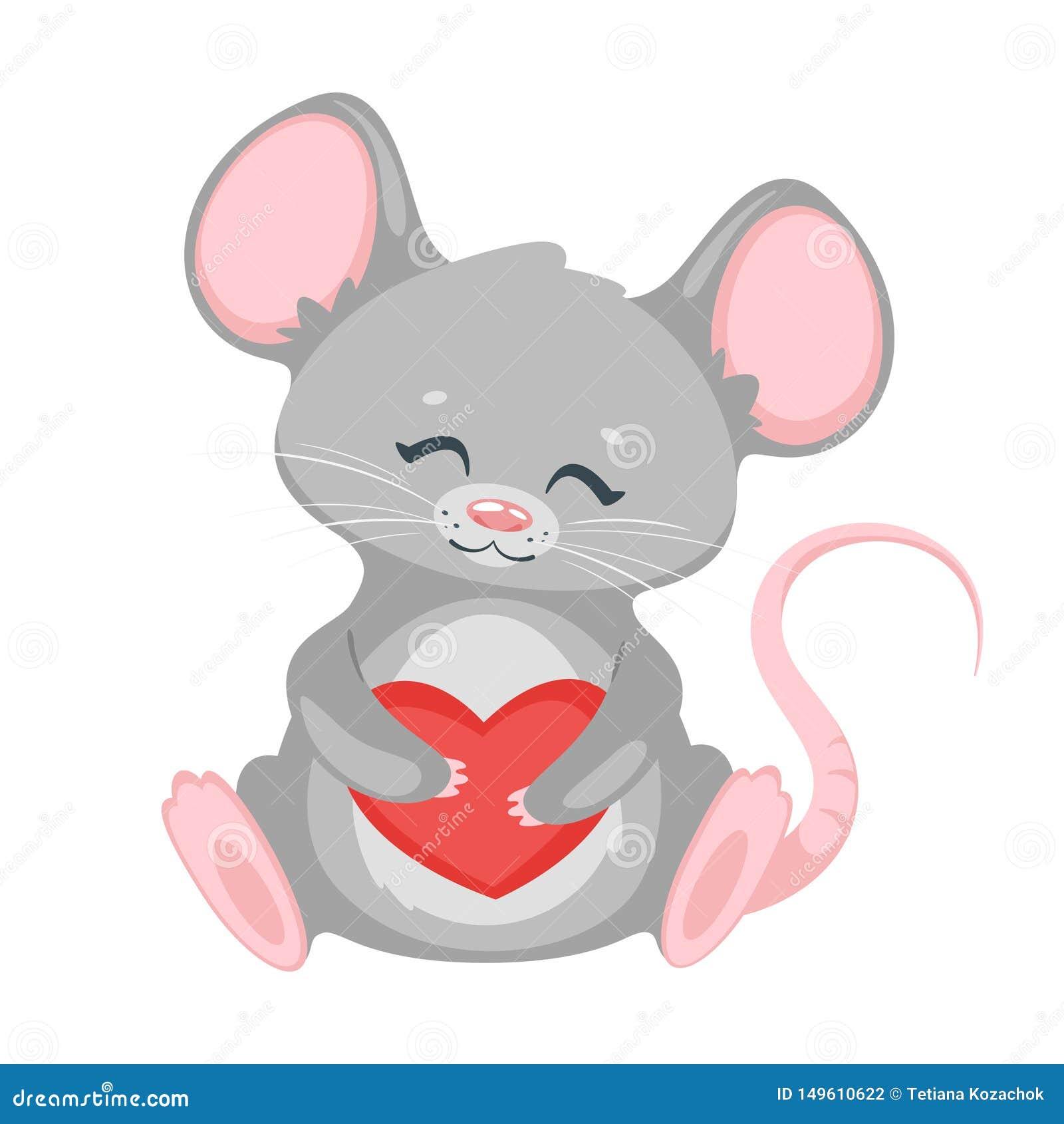 cute rat holding heart cartoon vector character stock