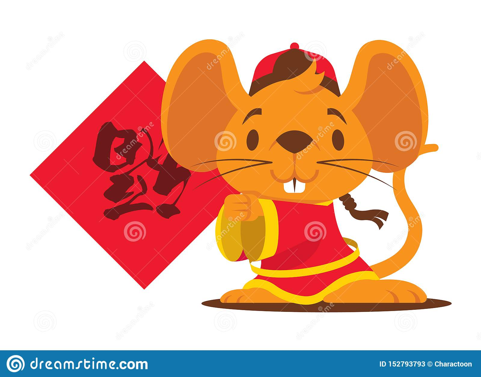 Cute Rat Mascot Holding A Chinese Couplet.Chinese New Year ...